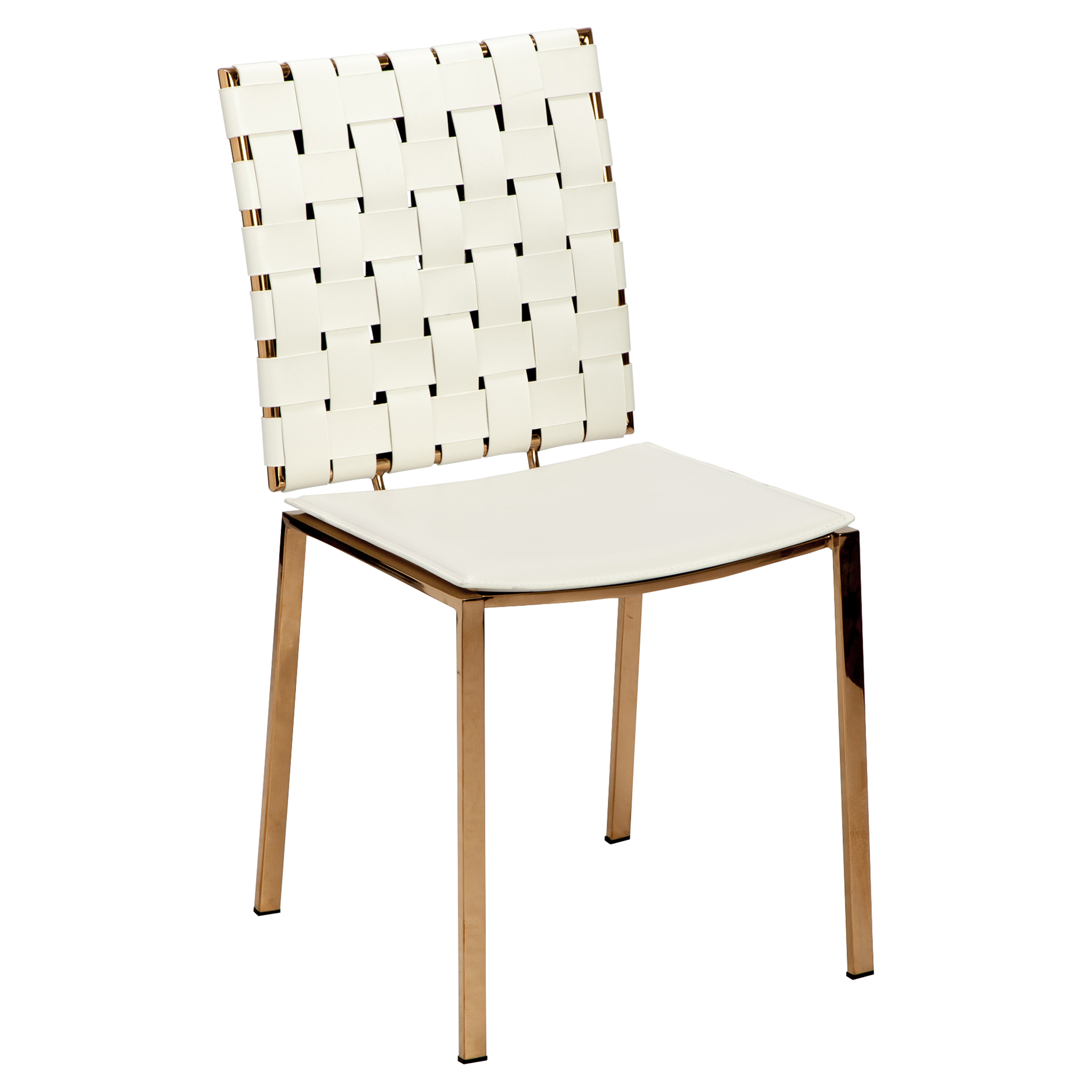 Oden Modern Woven White Leather Side Chairs - Pair