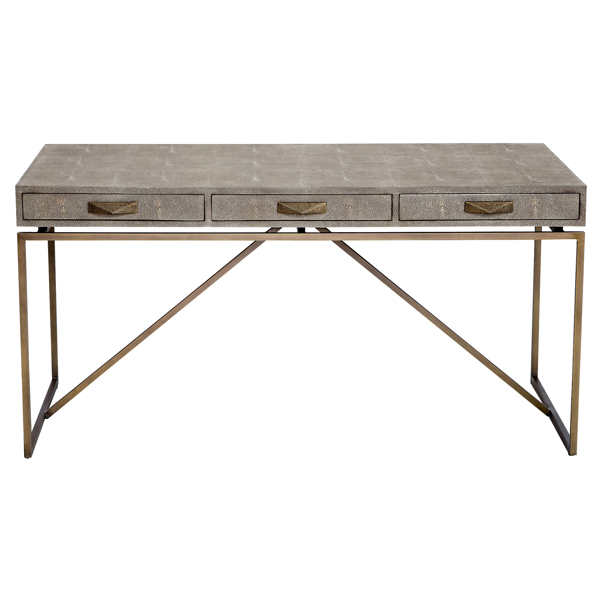 Pachi Regency Grey Faux Shagreen Antique Brass Desk