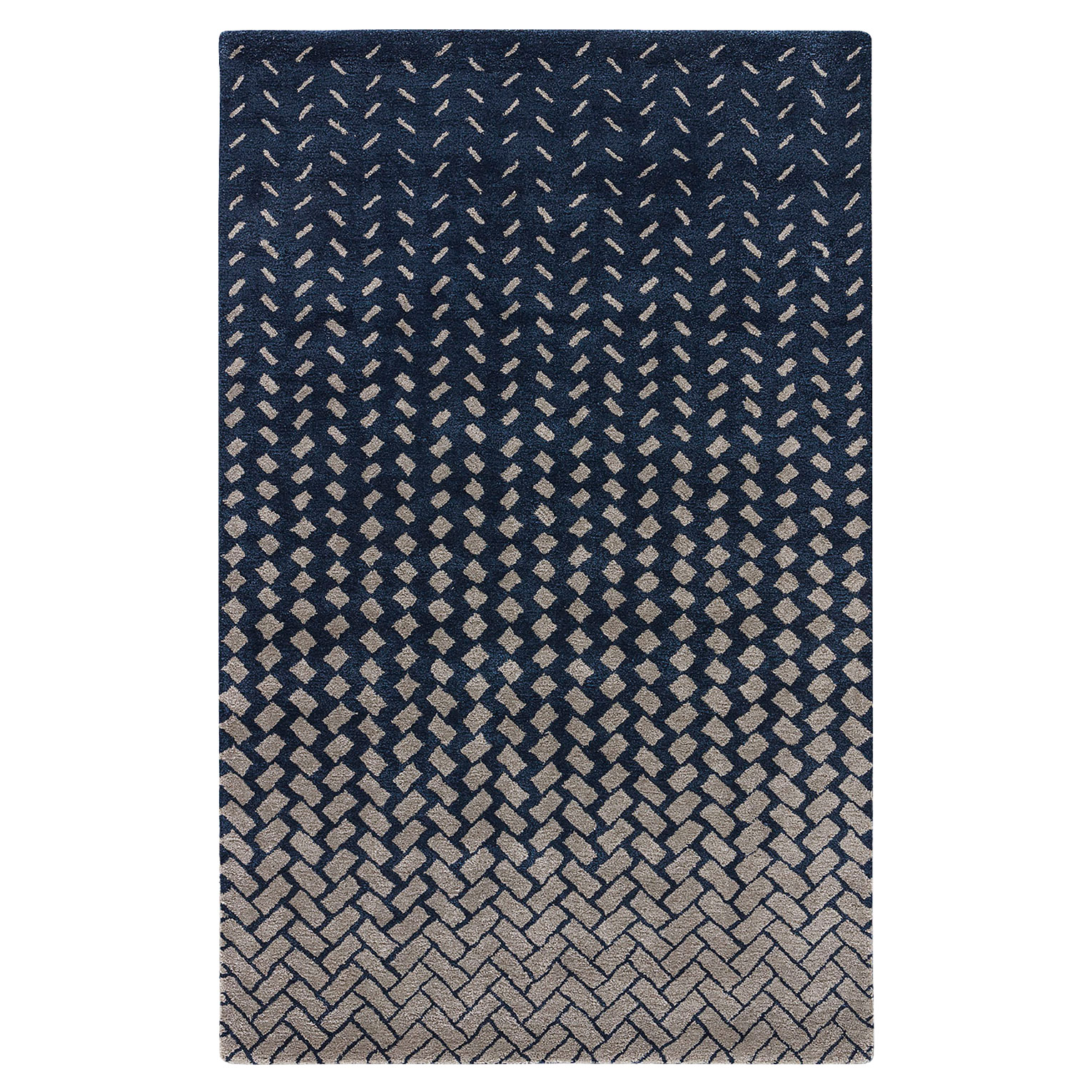 Wisco Modern Tile Wash Navy Wool Rug - 2x3