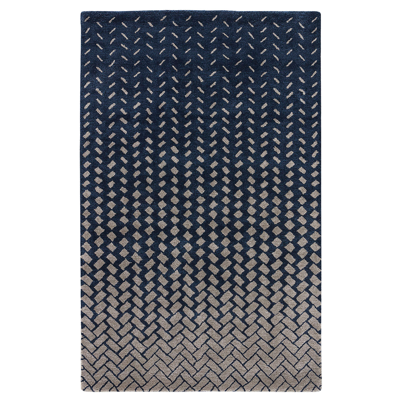 Wisco Modern Tile Wash Navy Wool Rug - 5x8