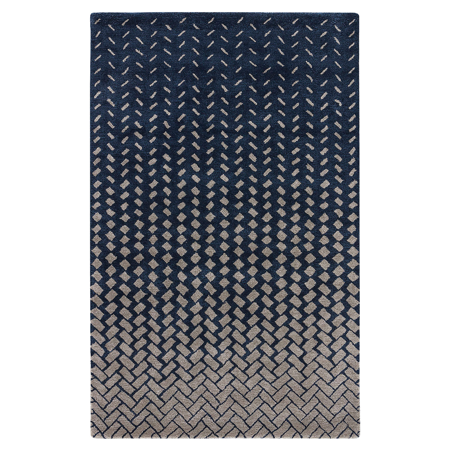 Wisco Modern Tile Wash Navy Wool Rug - 8x11