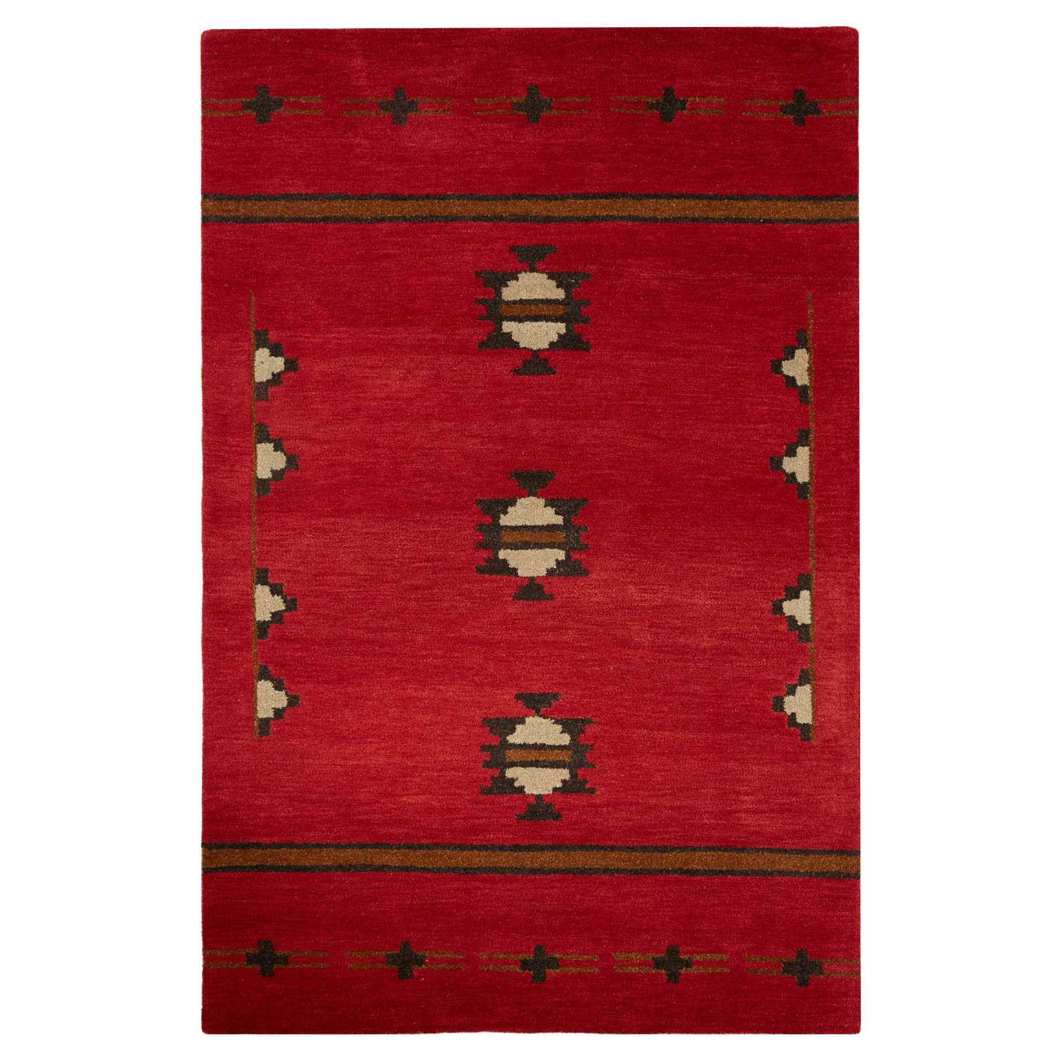 Otero Lodge Western Native Rustic Red Wool Rug - 5x8