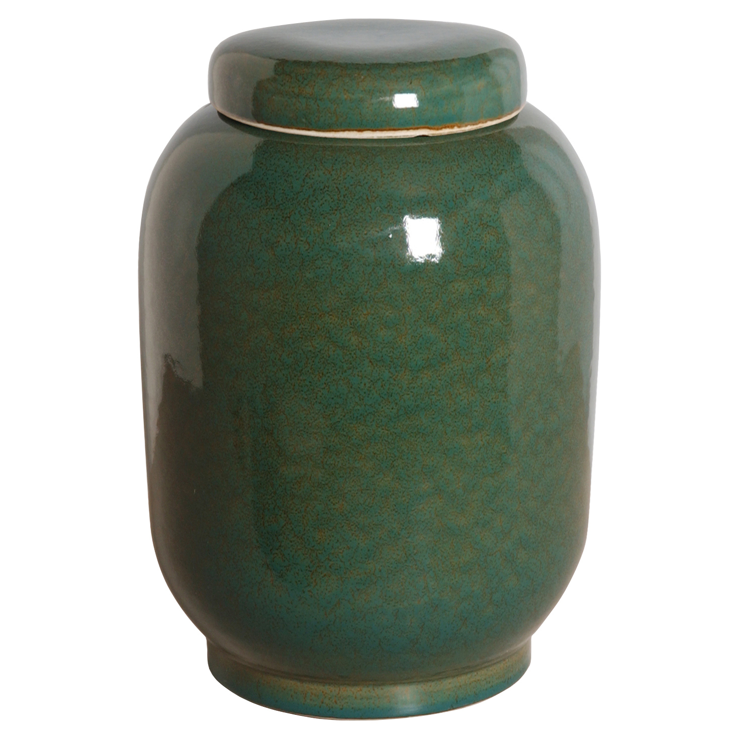 Jaego Bazaar Glazed Forest Green Ceramic Ginger Jar - 16H