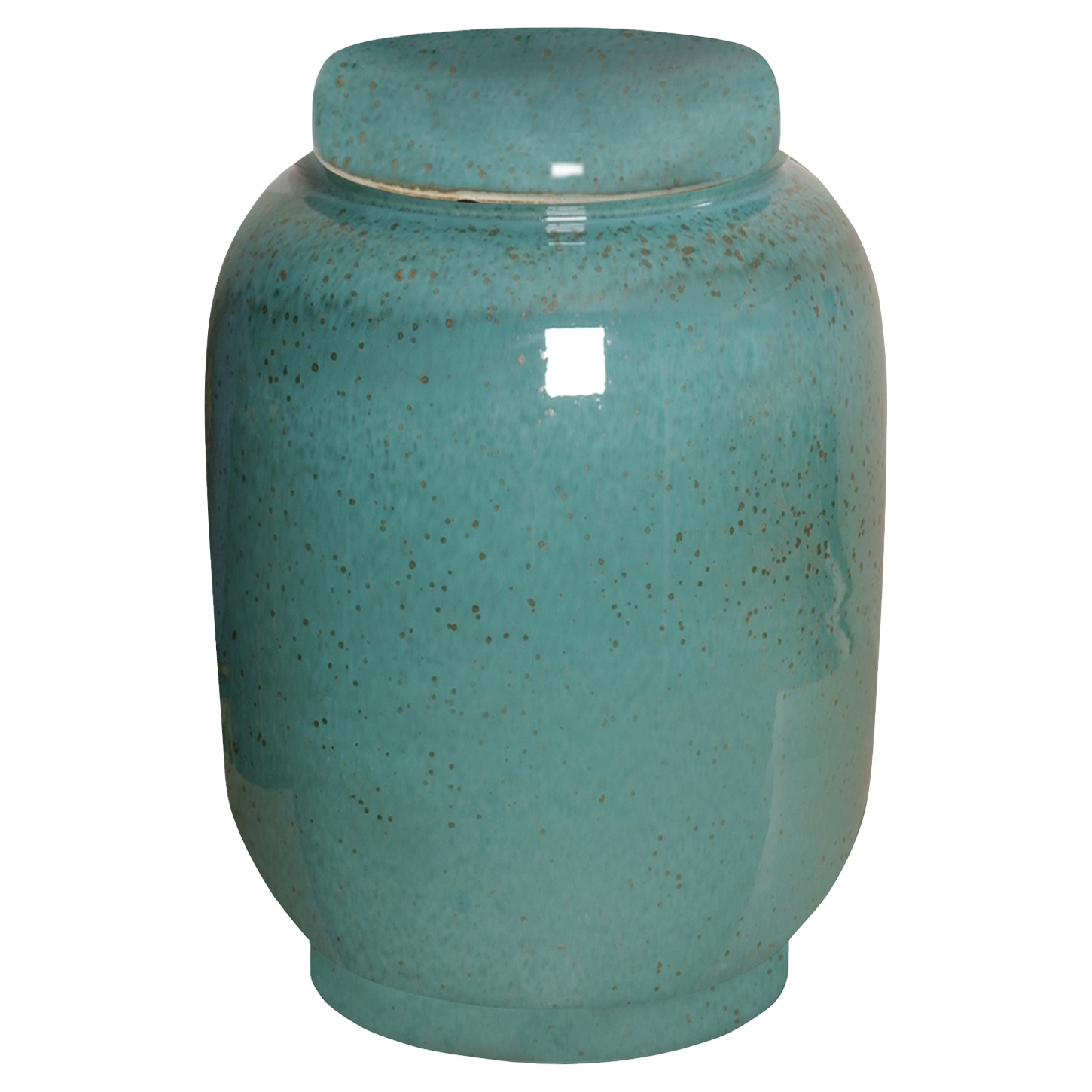 Jaego Bazaar Glazed Aqua Speckled Ceramic Ginger Jar - 16H