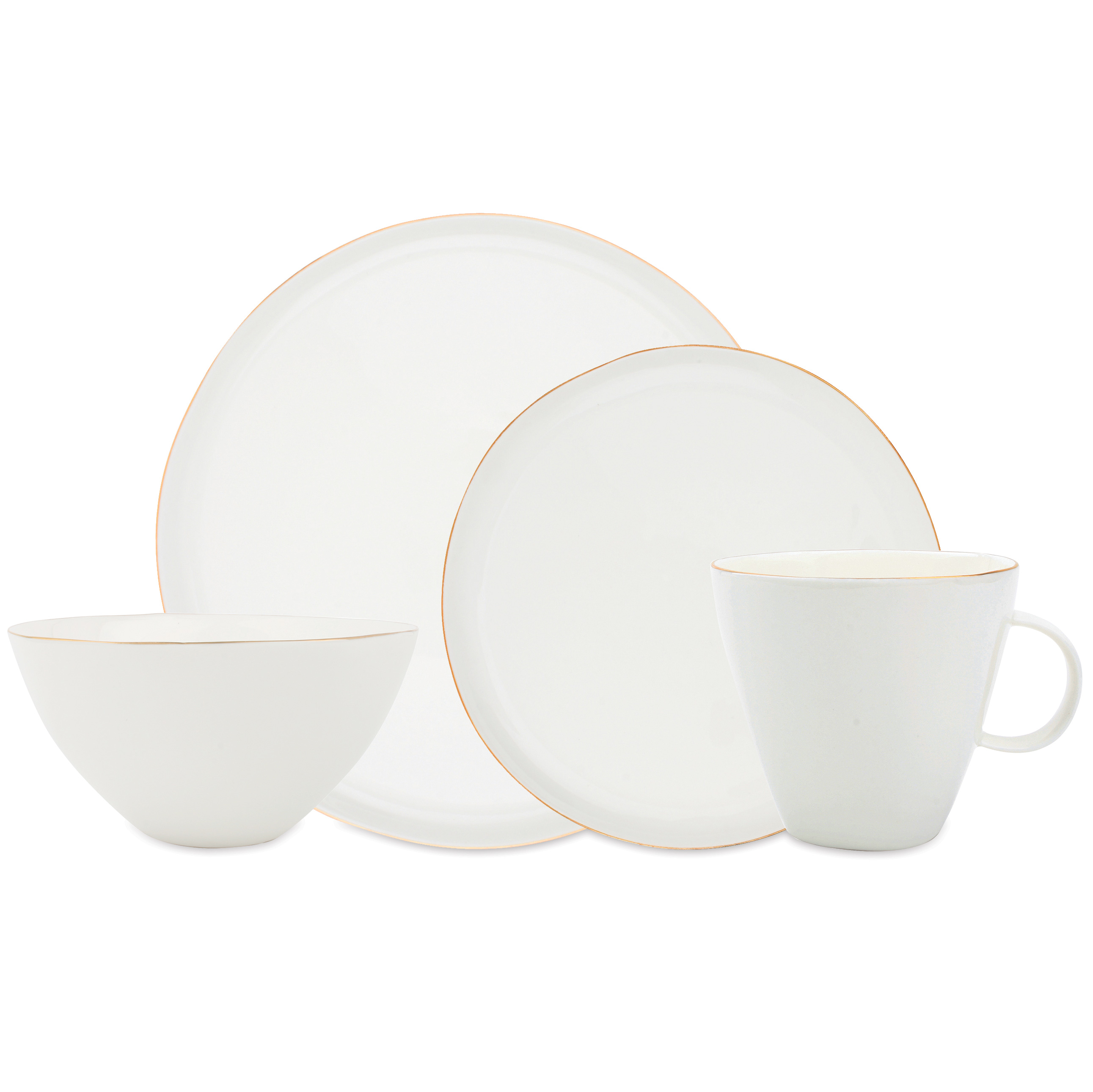 Abbesses Delicate Gold Rim White Dinner Set - 4 Piece  sc 1 st  Kathy Kuo Home & Dinnerware Collections | Kathy Kuo Home