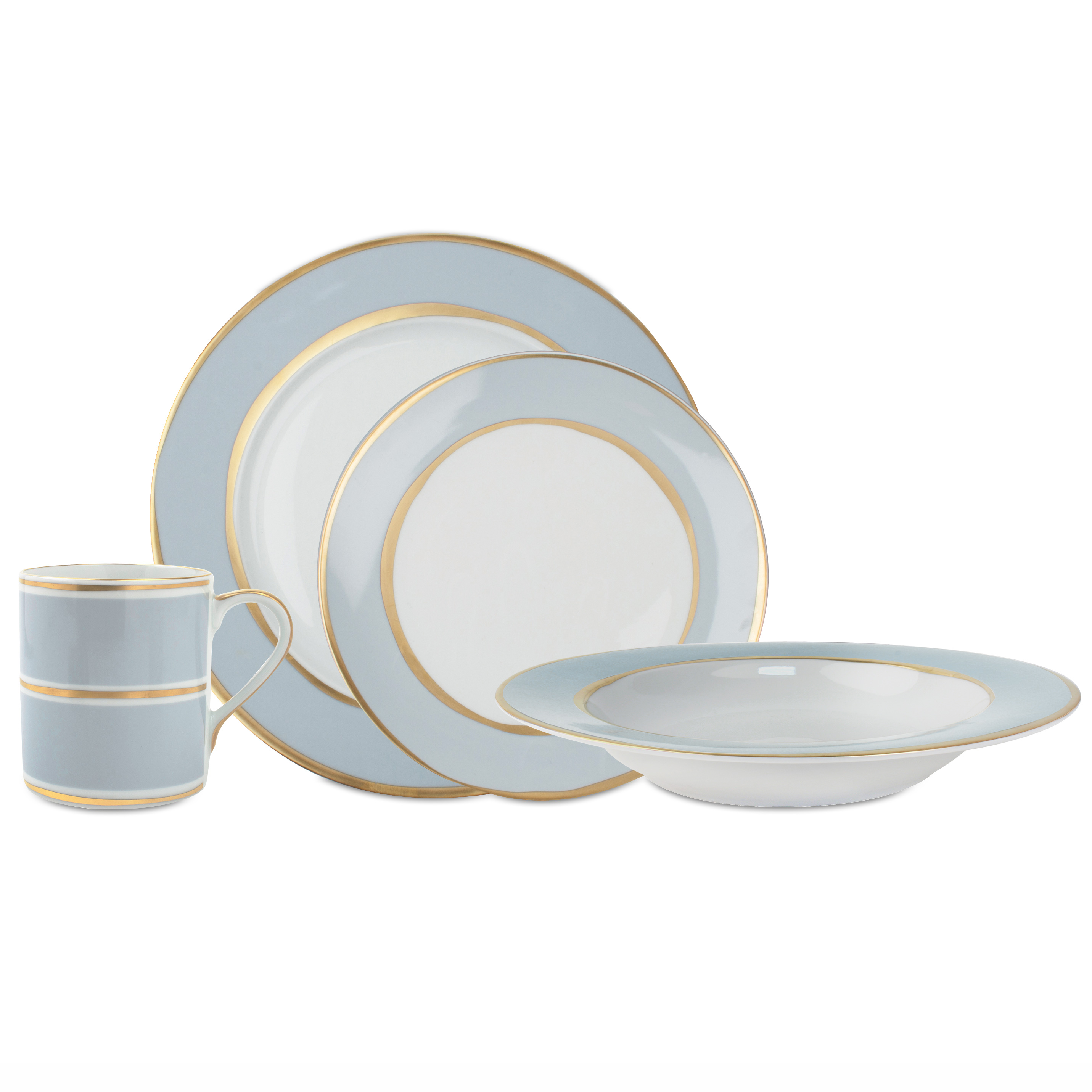 La Vienne Soft Blue 4 Piece Dinner Set  sc 1 st  Kathy Kuo Home & Dinnerware Collections | Kathy Kuo Home