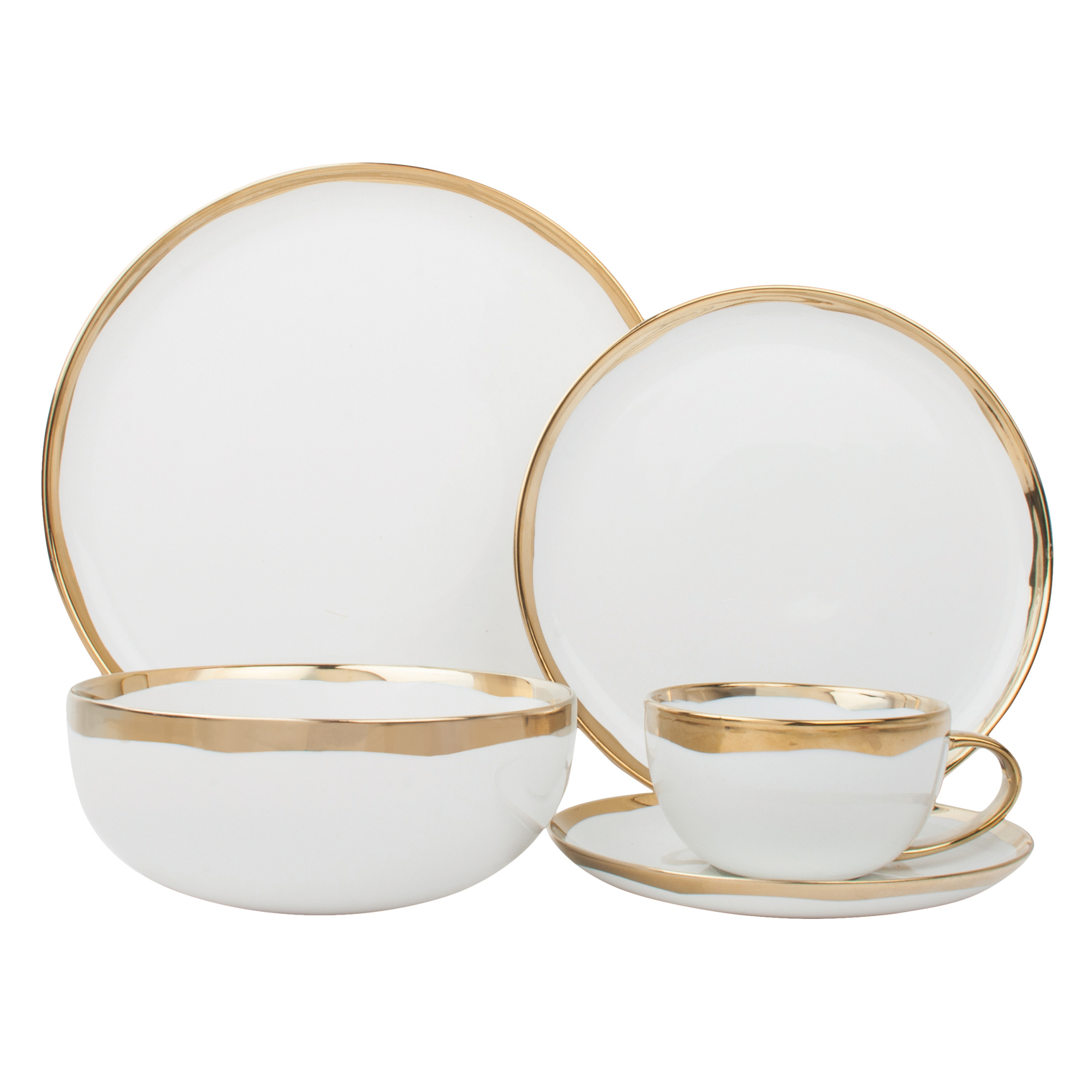 Dauville Regency Gold Trim Dining Set - 5 piece  sc 1 st  Kathy Kuo Home & Dinnerware Collections | Kathy Kuo Home