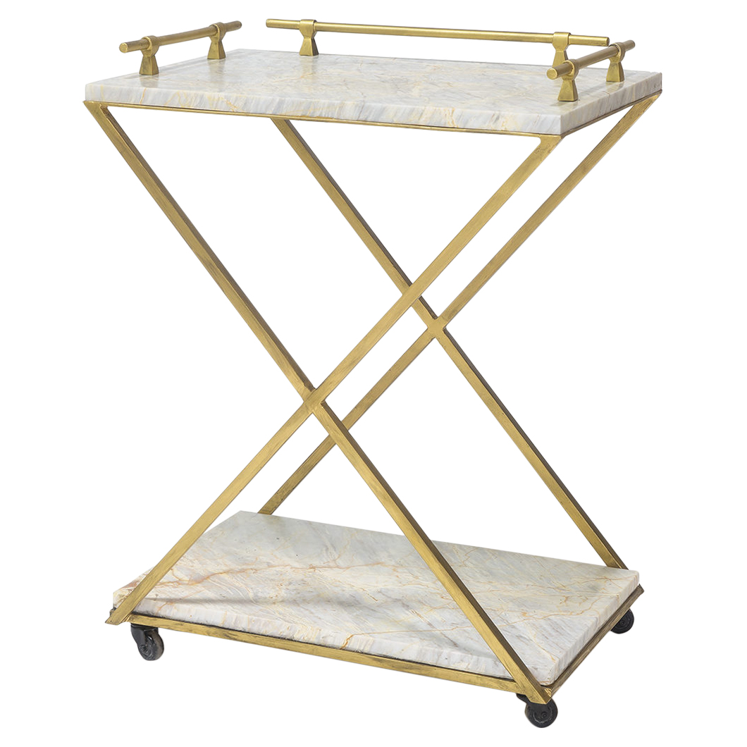Valmont Regency Gold Iron Natural Marble Bar Cart