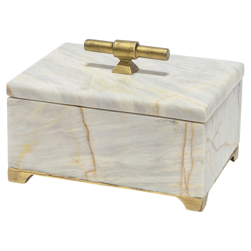 Valmont Regency Gold Iron Marble Decorative Box - S