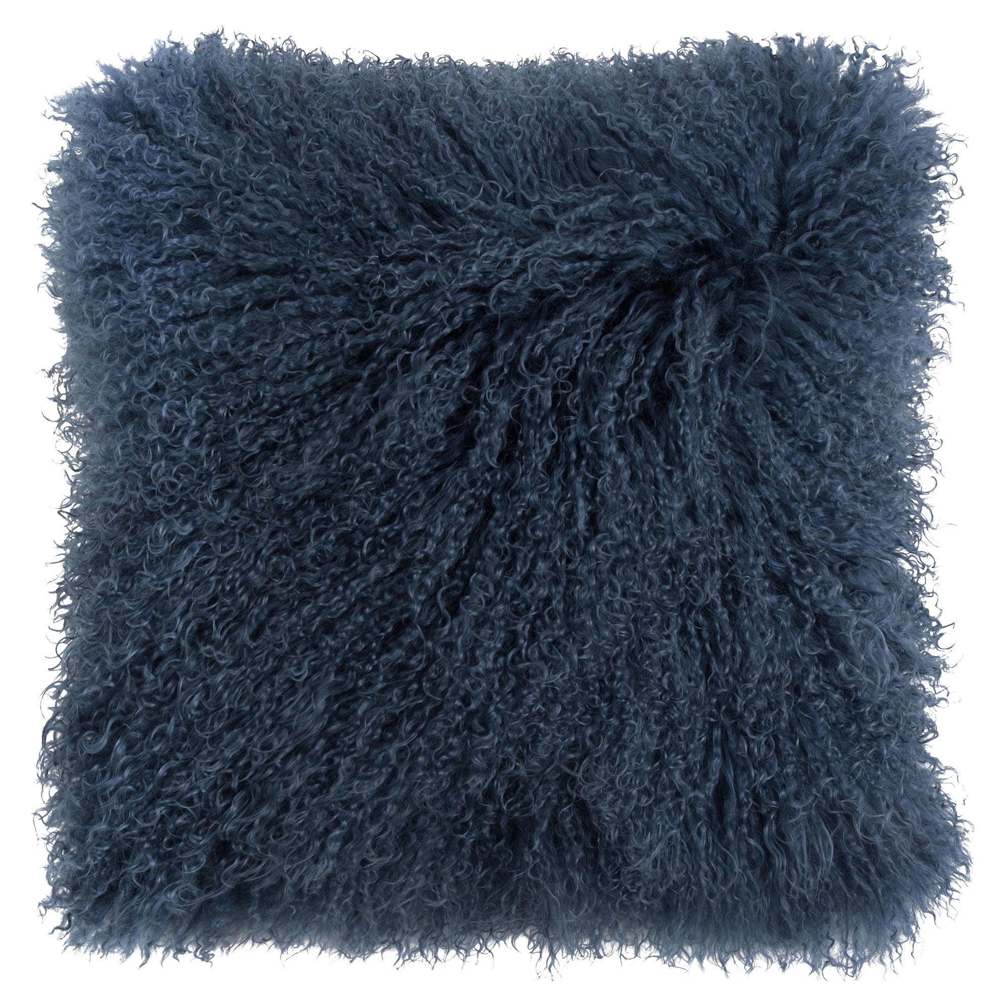 Devi Global Tibetan Textured Wool Navy Blue Pillow - 16x16