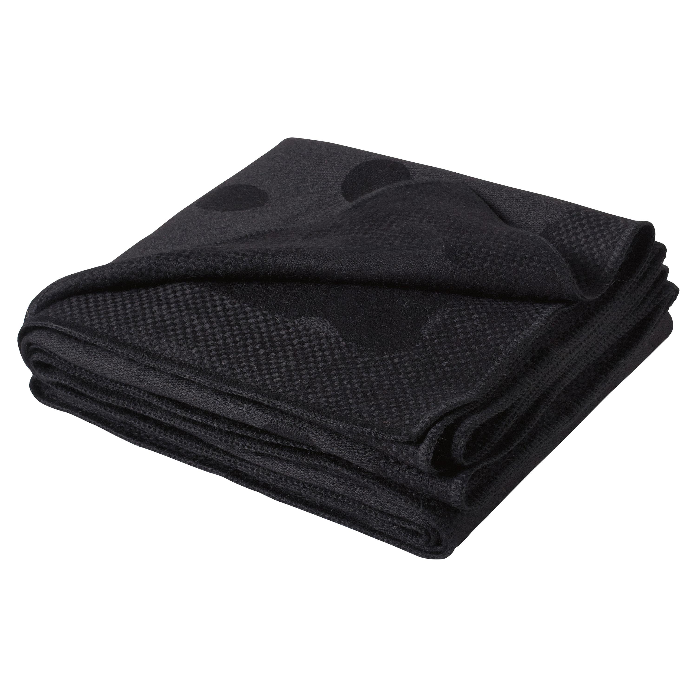 Polka Dot Woven Black Alpaca Wool Throw Blanket