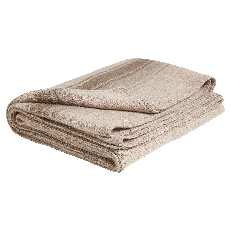 Striped Brown Alpaca Wool Crochet Edge Throw Blanket