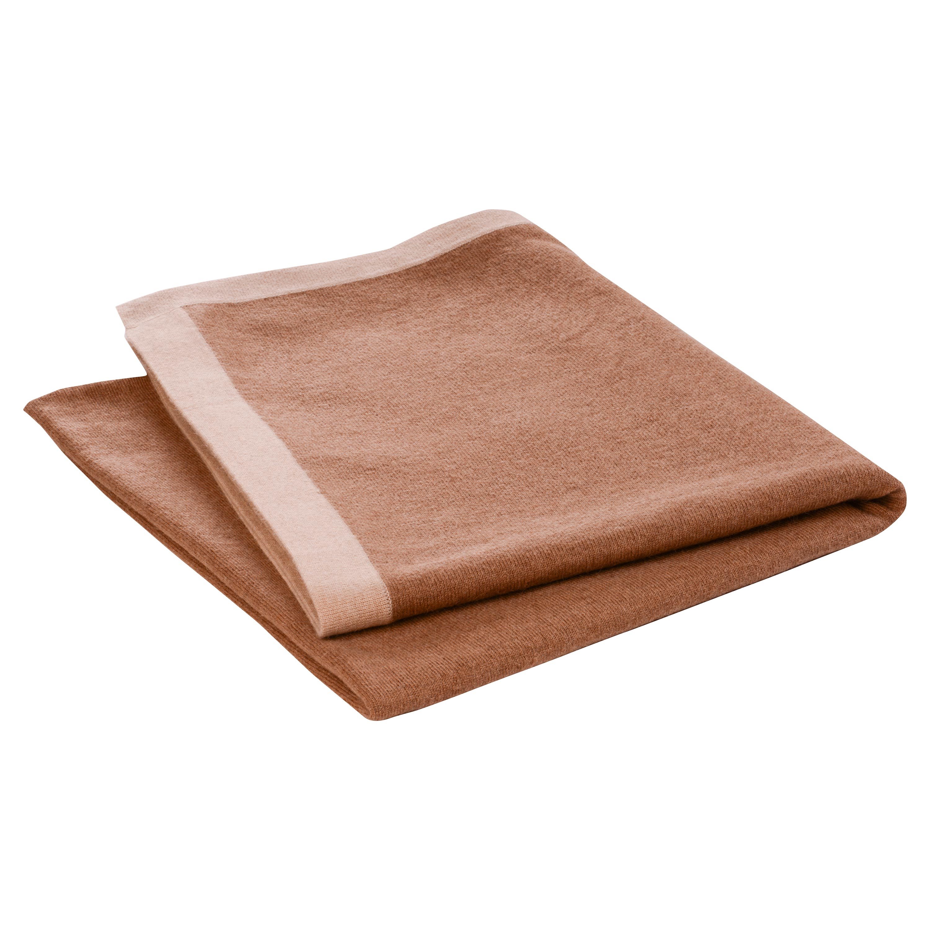 Stephie Classic Brown Bordered Camel Hair Blanket