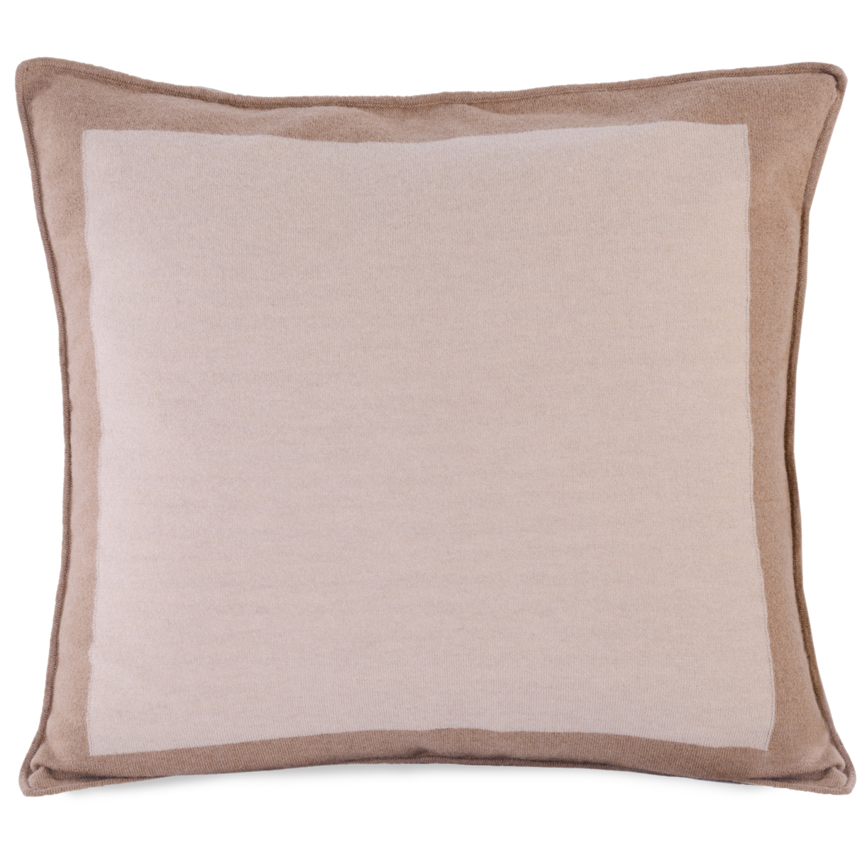 Stephie Classic Beige Bordered Camel Hair Pillow - 22x22
