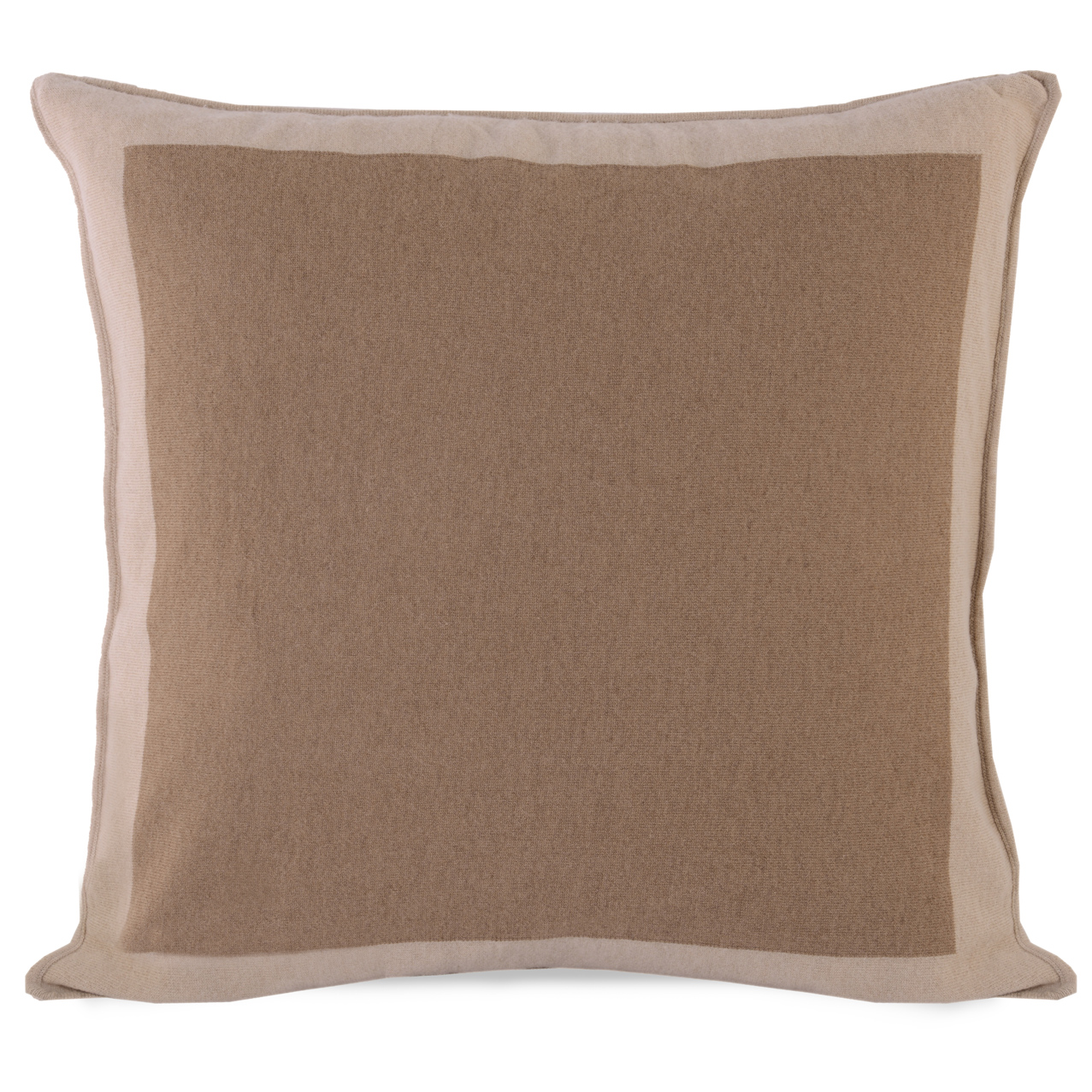 Stephie Classic Brown Bordered Camel Hair Pillow - 22x22