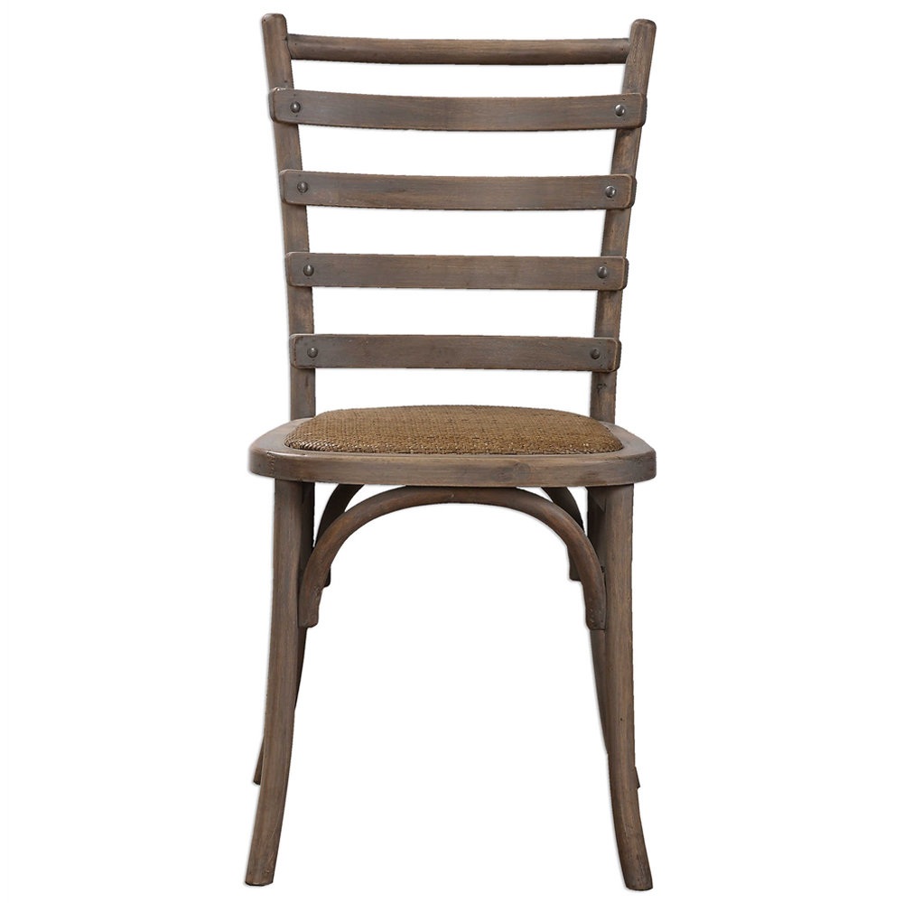 Selke Rustic French Rattan Ladder Back Side Chair - Pair