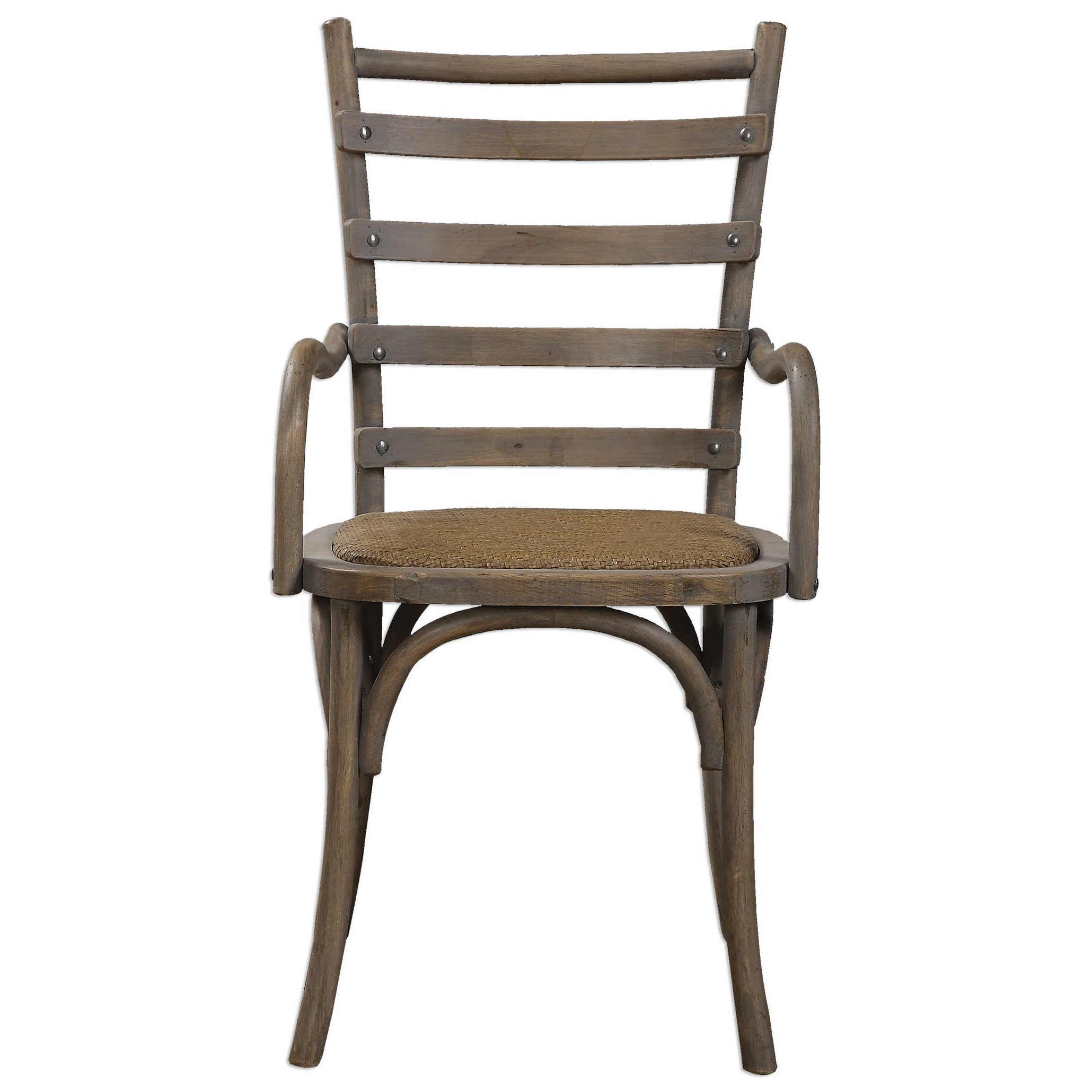 Selke Rustic French Rattan Ladder Back Armchair - Pair