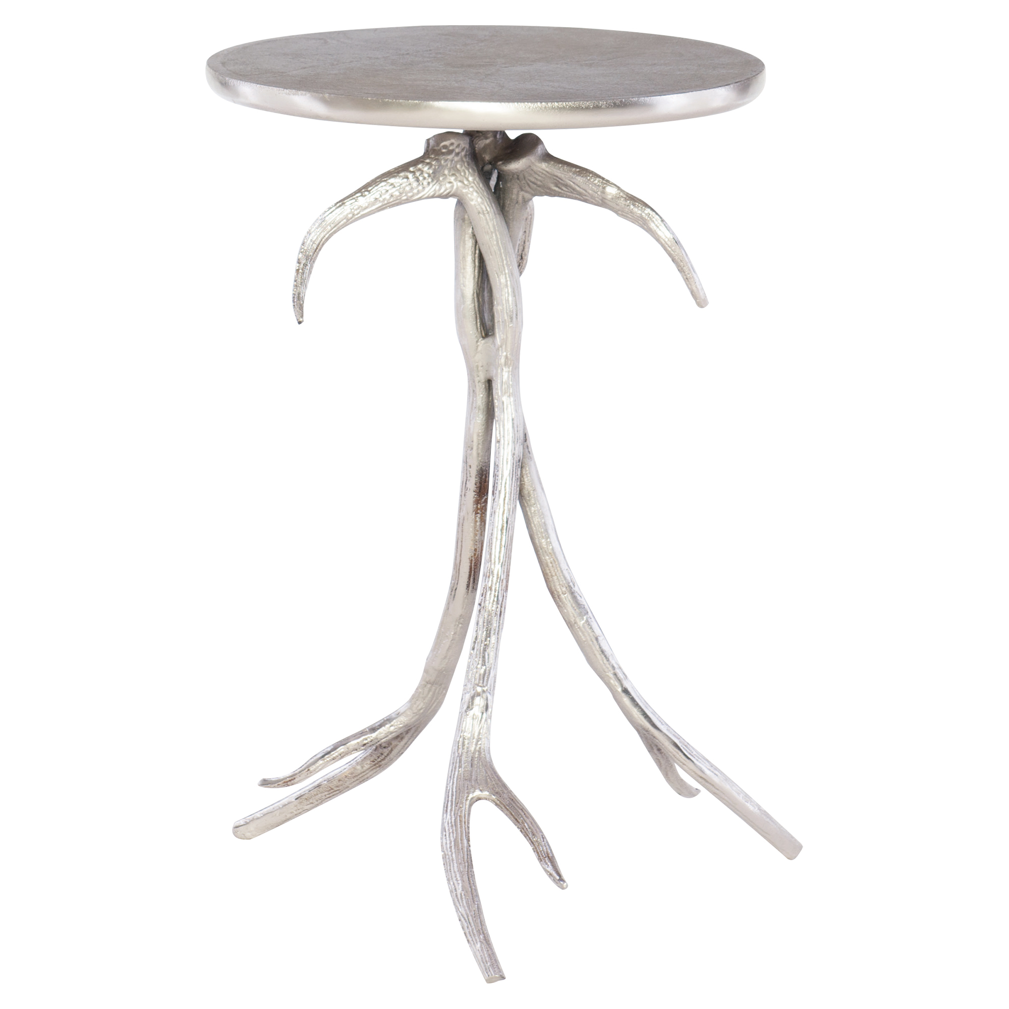 Lilia Rustic Lodge Silver Leaf Antler End Table