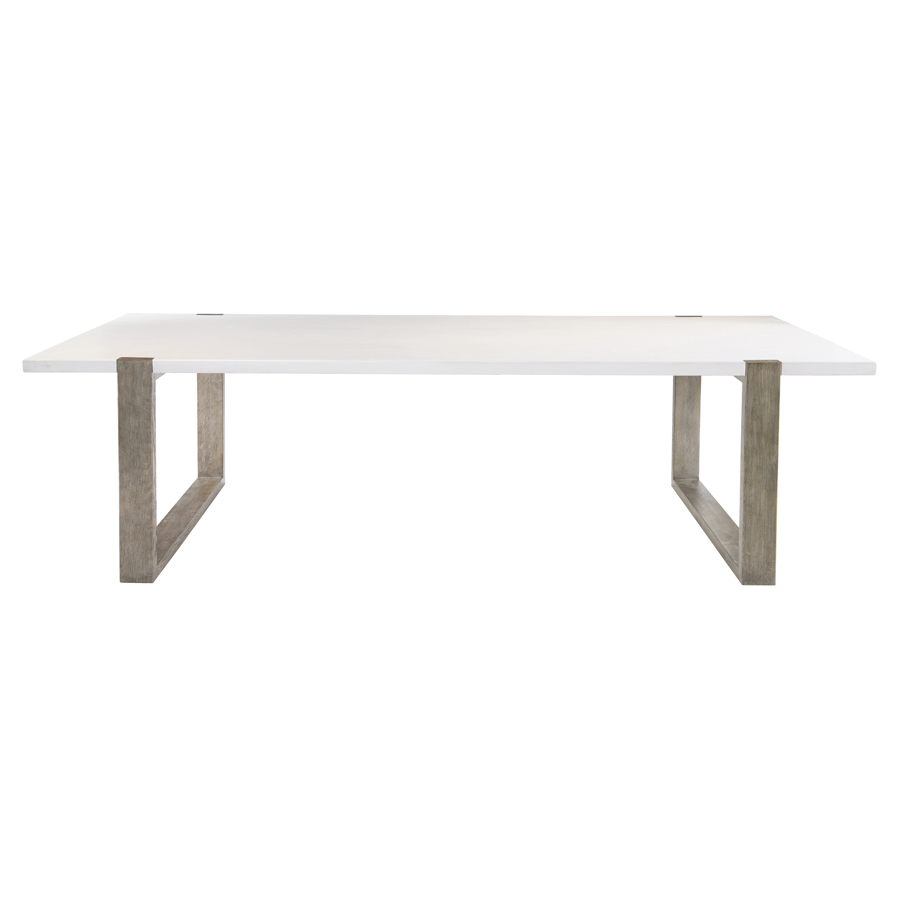 Vick Modern Industrial Grey Wood White Plaster Dining Table