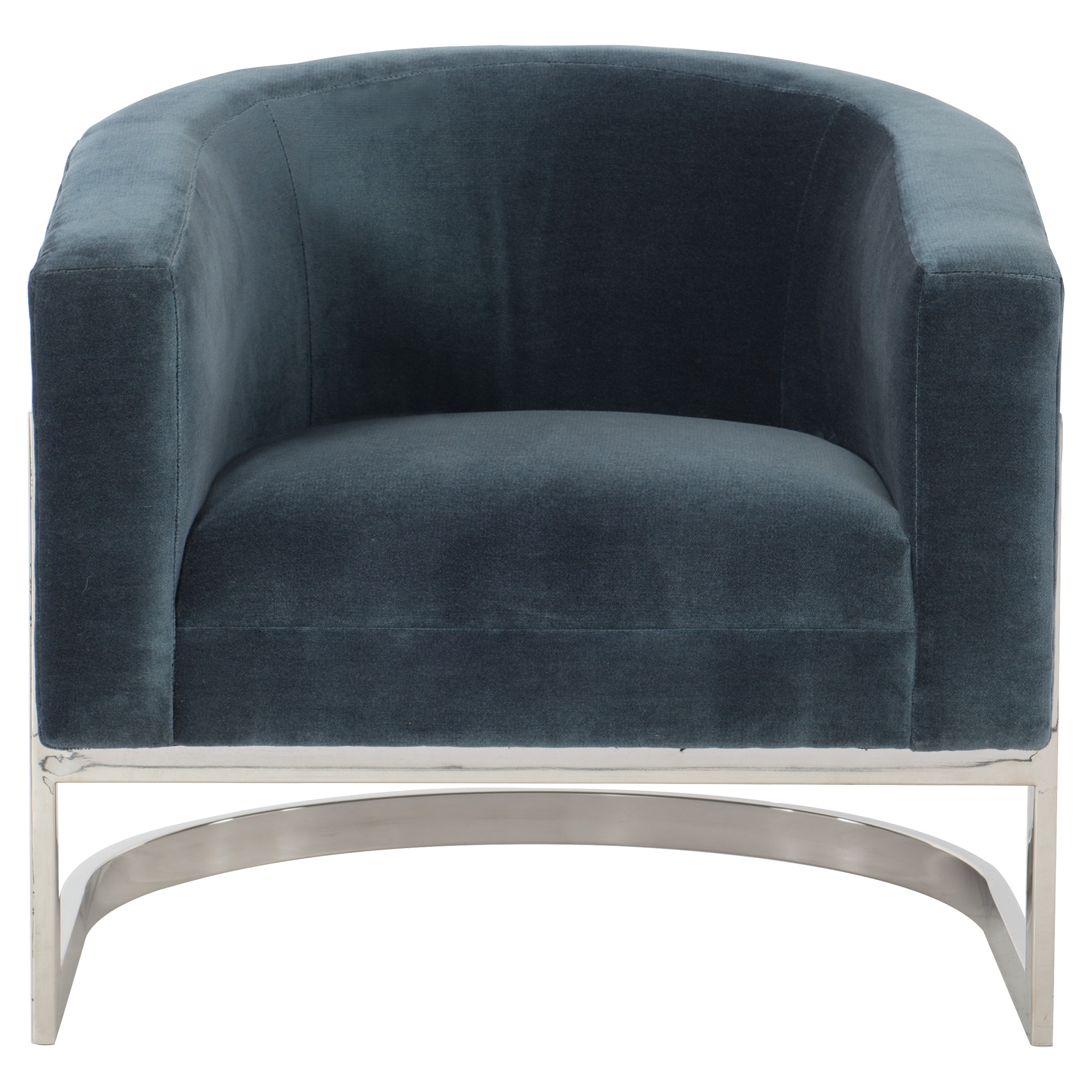 Cabrera Modern Classic Curved Steel Blue Velvet Armchair