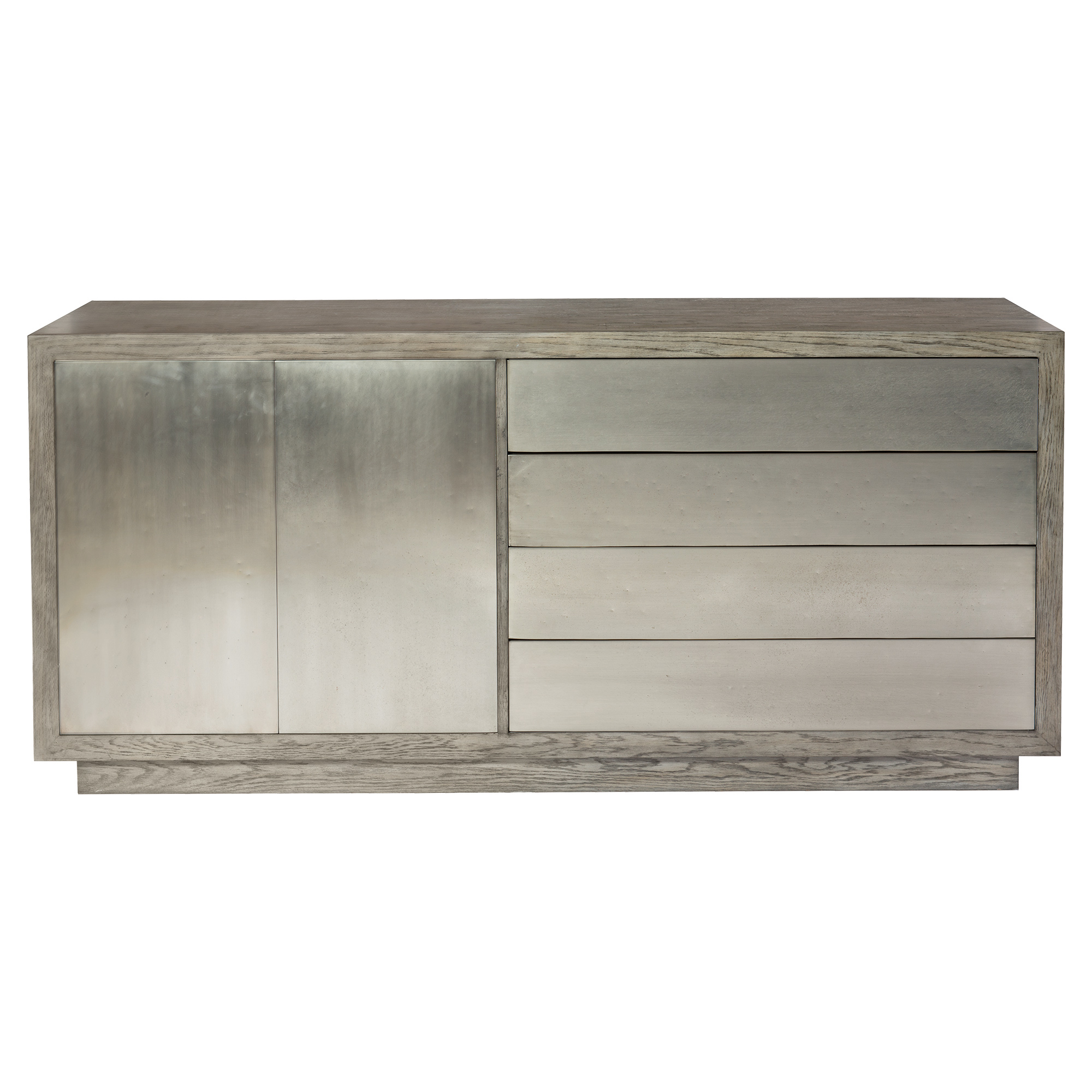 Benitez Modern Rustic Grey Wood Tarnished Nickel Buffet