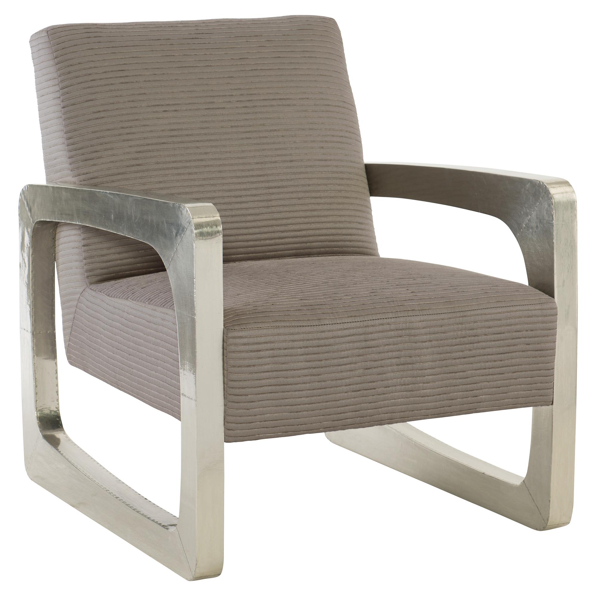Adella Modern Industrial Silver Metal Textured Grey Armchair