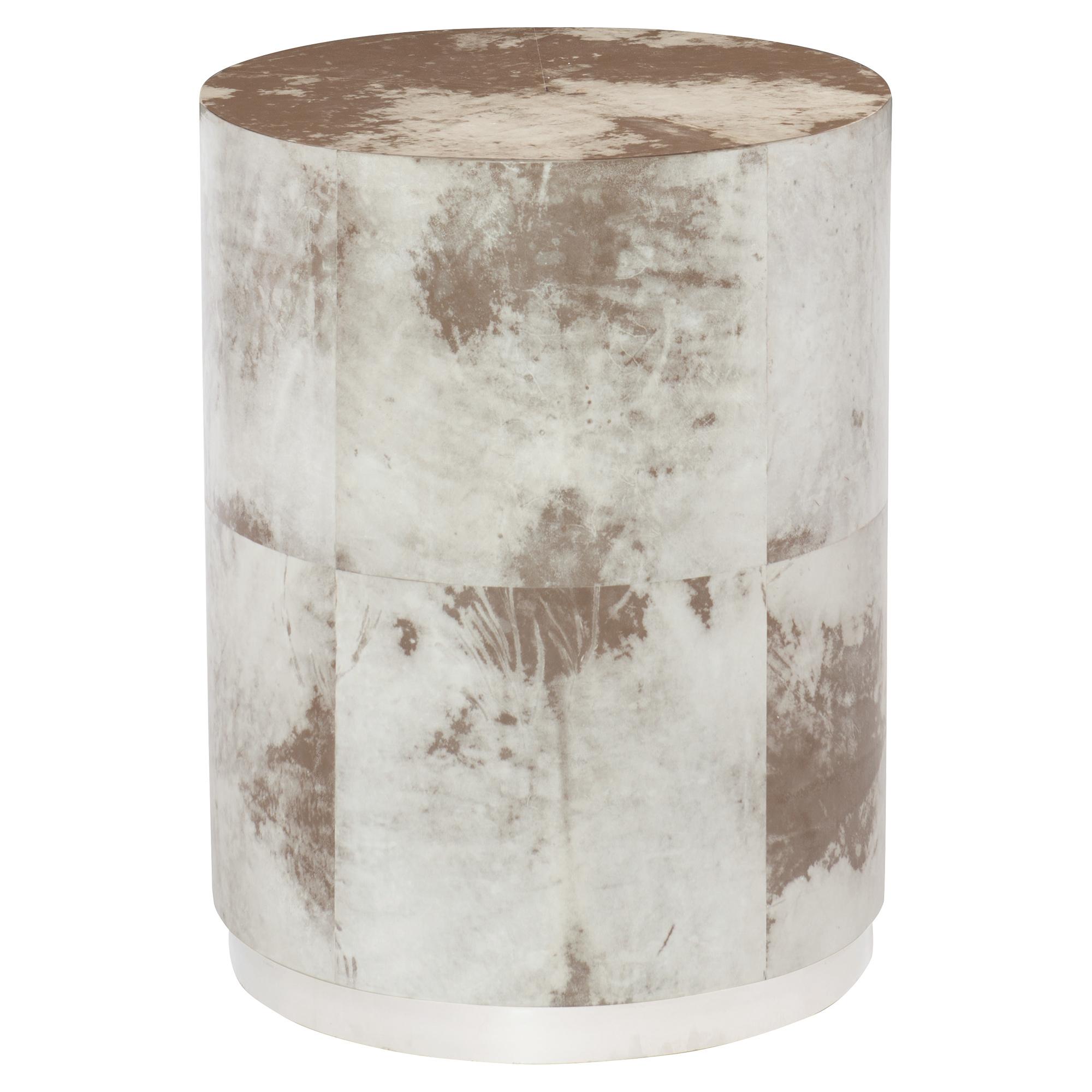 Karri Regency White Vellum Wrapped Brown Side Table