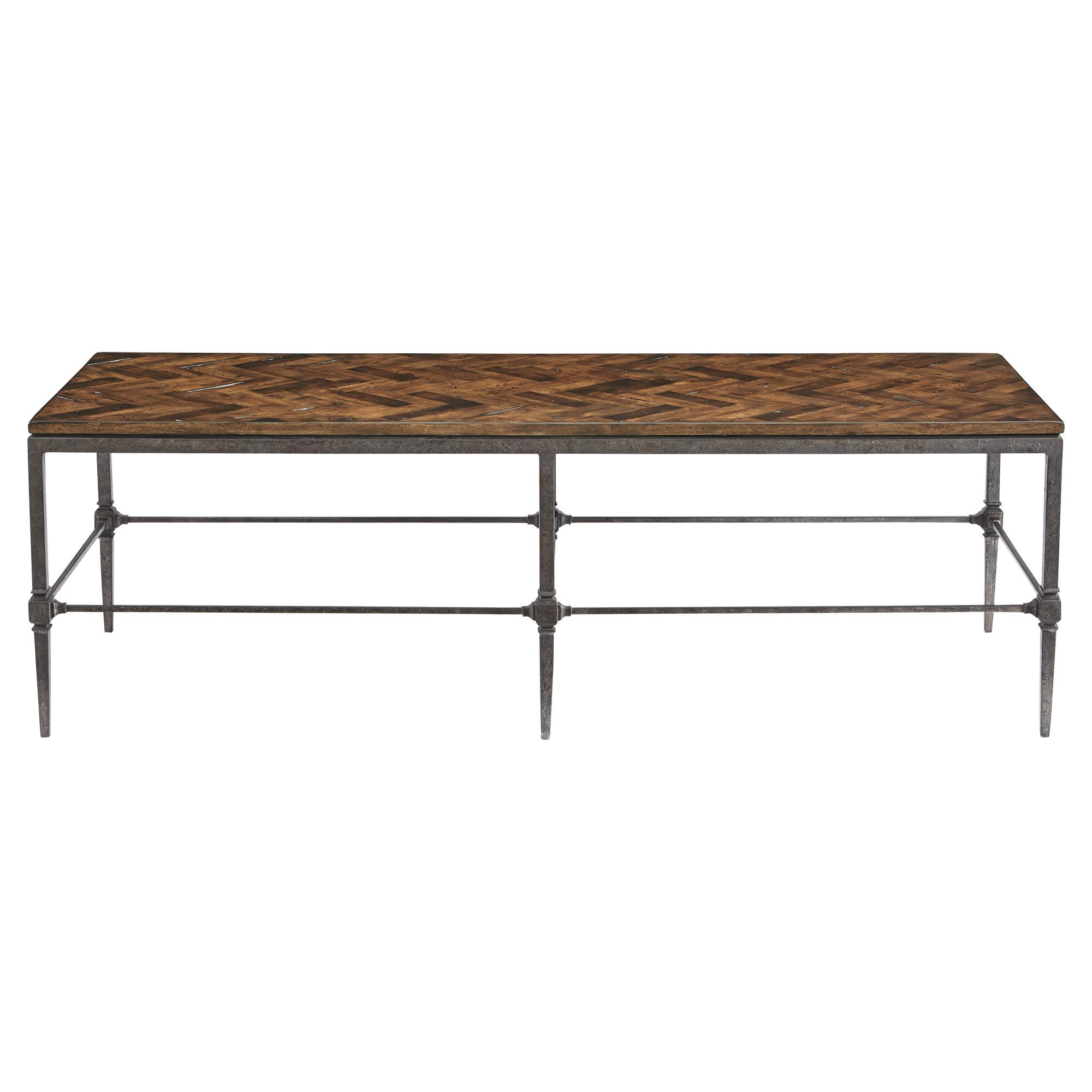 Doyle Lodge Herringbone Wood Blackened Steel Coffee Table