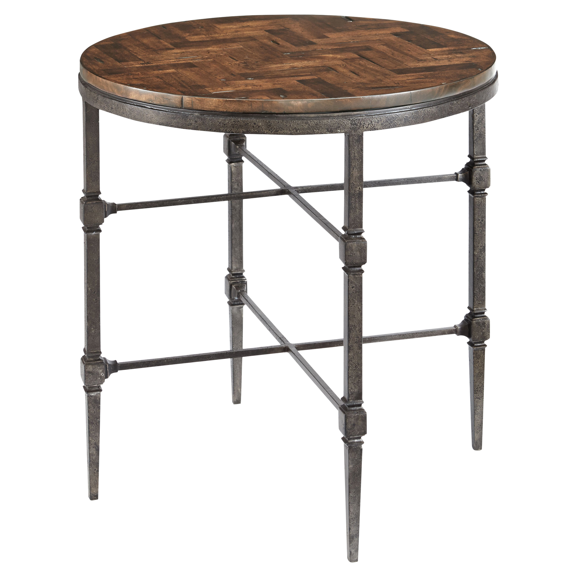 Doyle Lodge Herringbone Wood Blackened Steel End Table