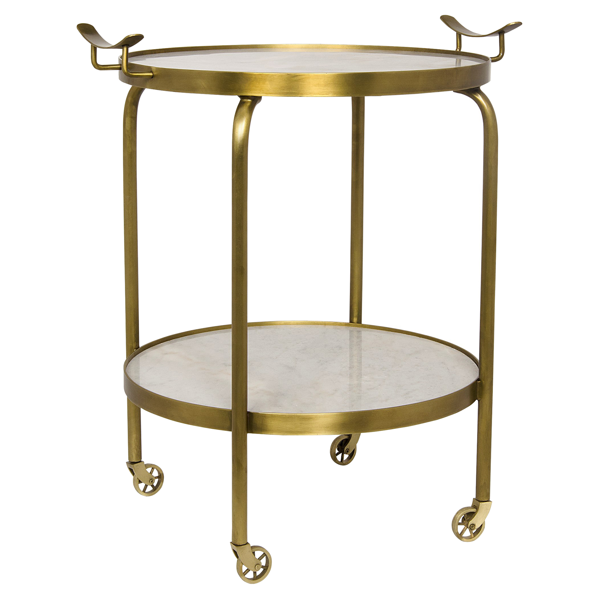 Ralphi Regency Rolling Round Antique Brass Stone End Table