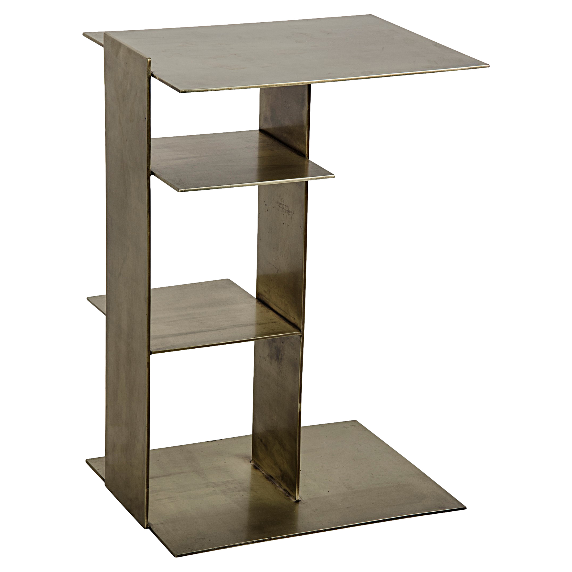 Junia Industrial Loft Antique Brass Structural End Table