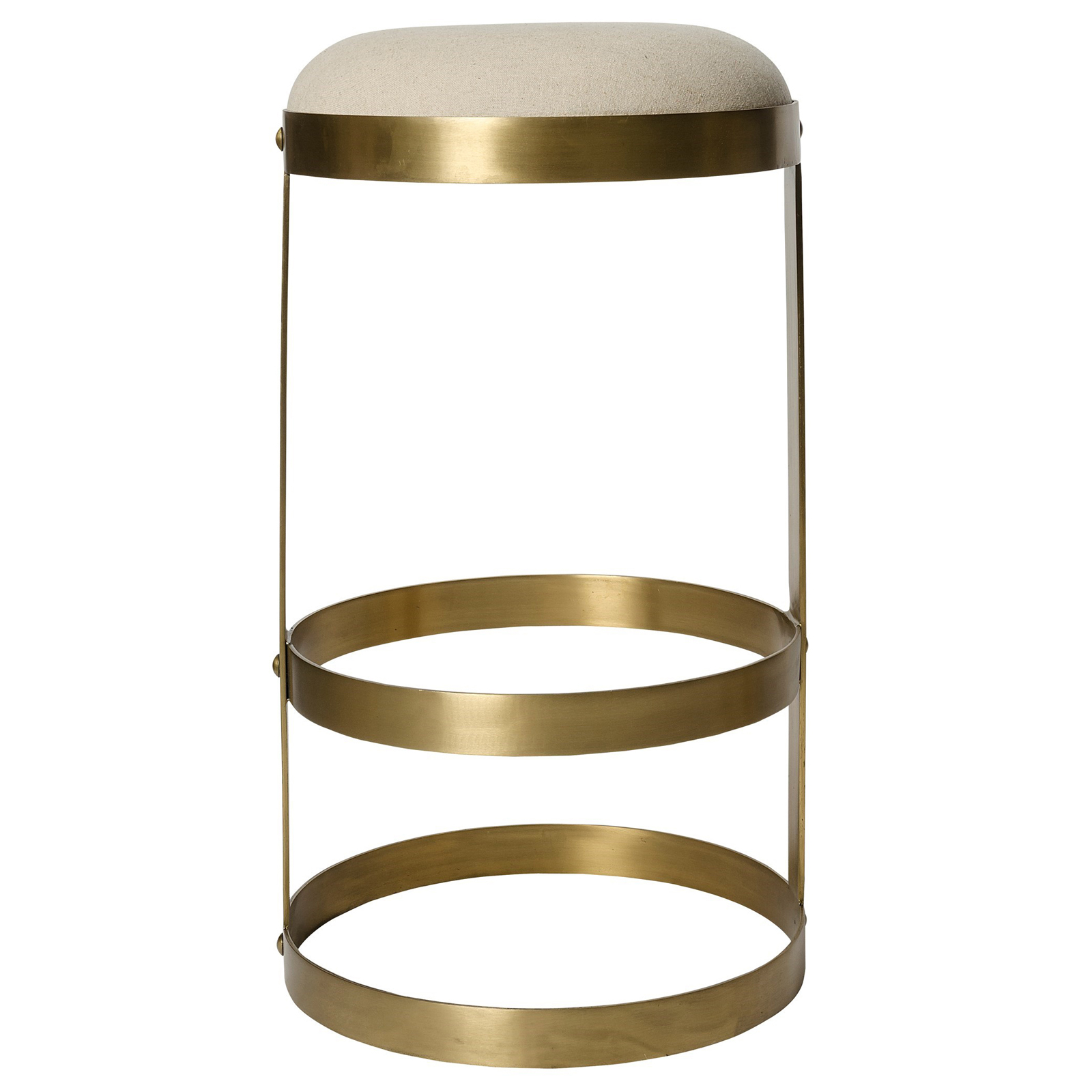 Camila Industrial Antique Brass Beige Linen Barstool