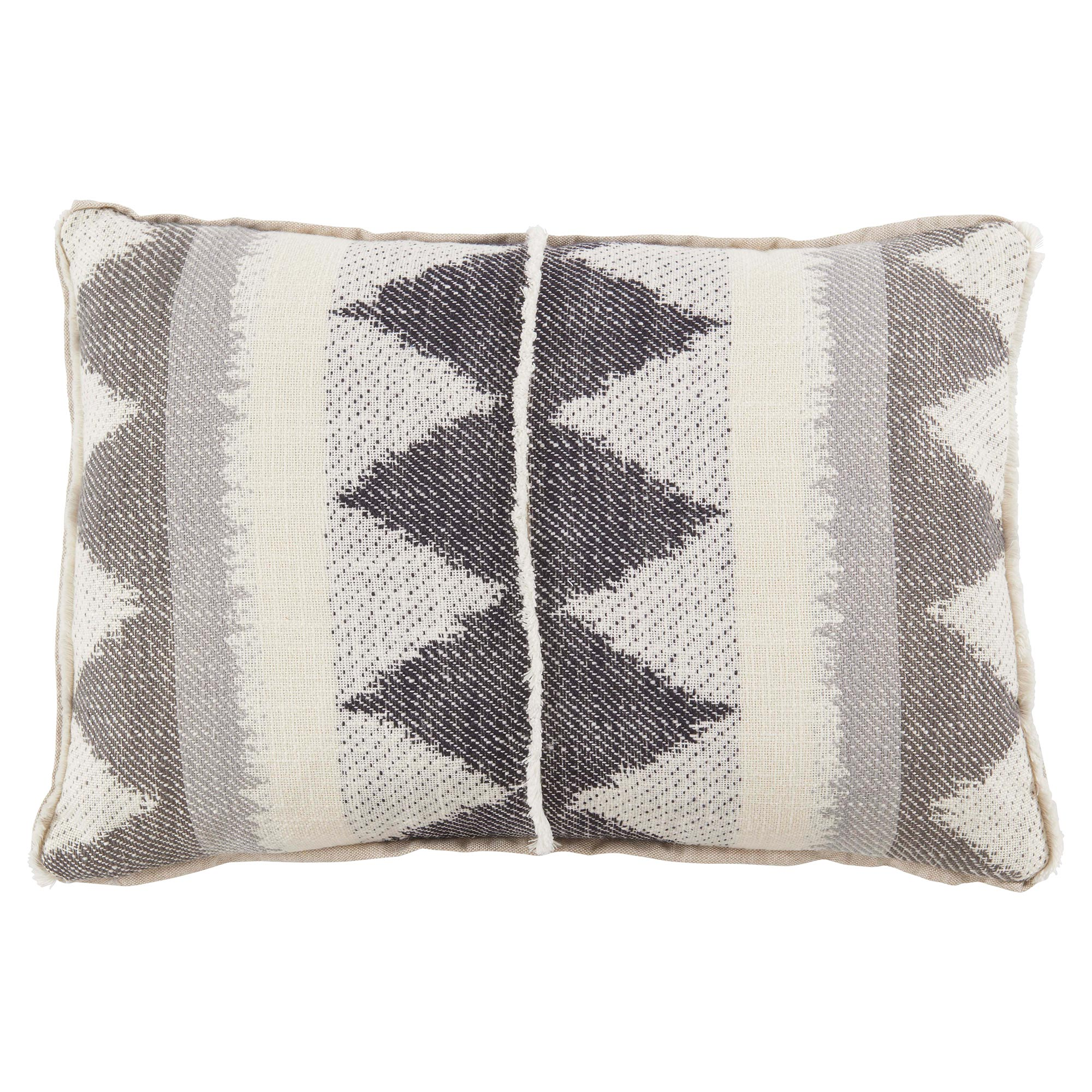 Lula Bazaar Fringe Diamond Charcoal Linen Pillow - 13x19