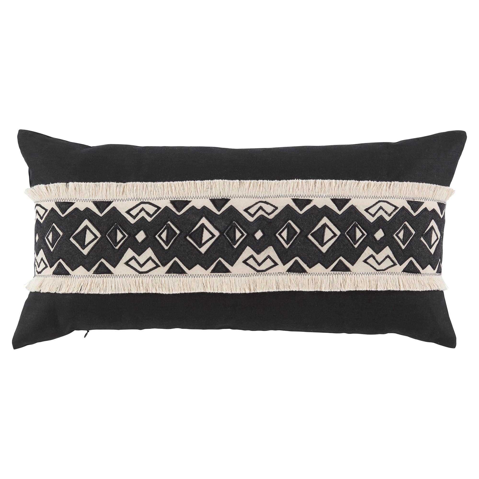 Kuba Tribal Band Fringe Black Linen Pillow - 15x30