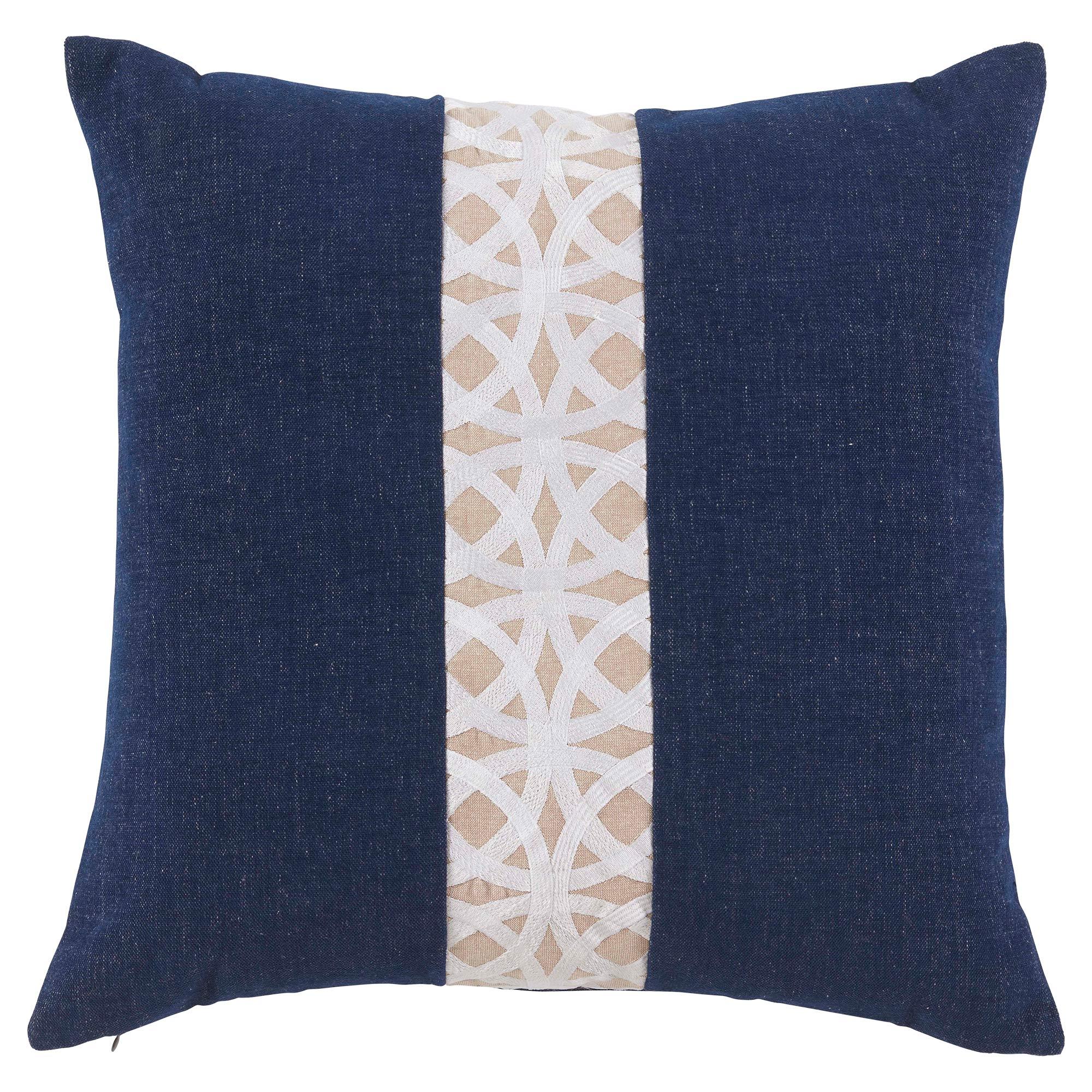 Dorsa Coastal Trellis Stripe Navy Blue Pillow - 22x22