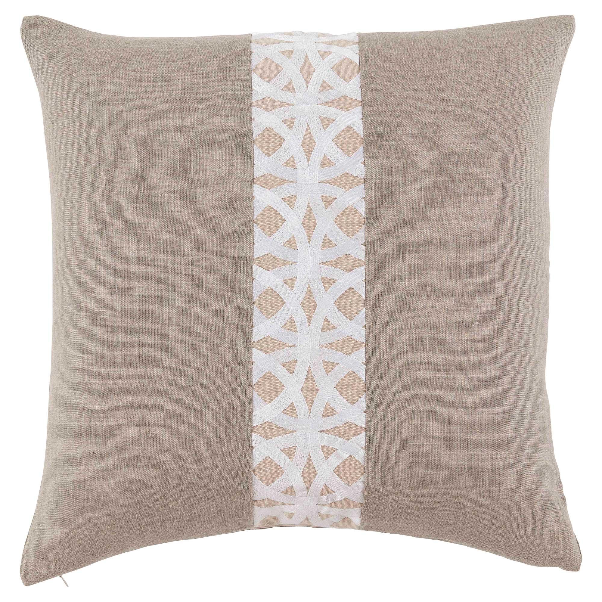 Dorsa Coastal Trellis Stripe Beige Linen Pillow - 22x22