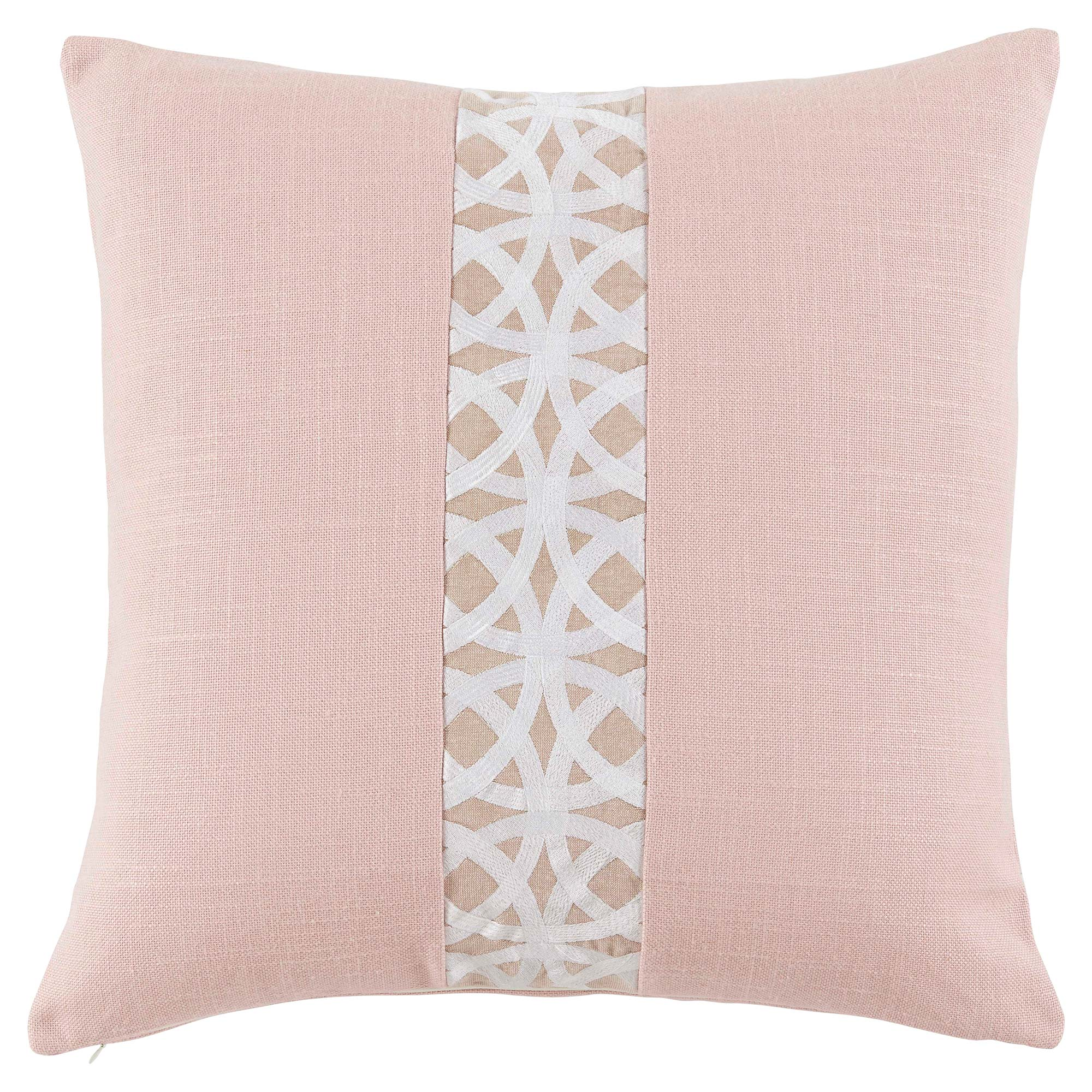 Dorsa Coastal Trellis Stripe Rose Pink Pillow - 22x22
