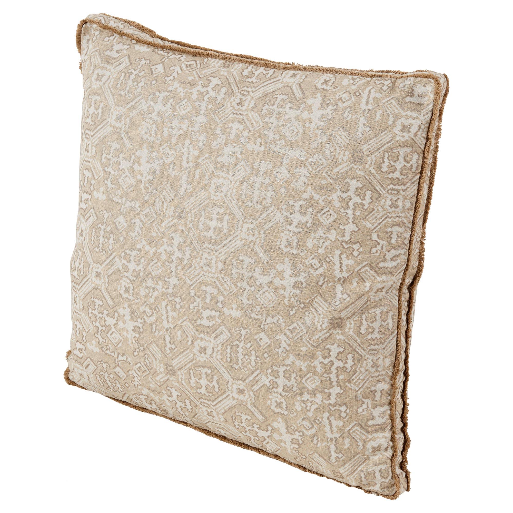 Noma Bazaar Ivory Beige Tribal Print Eyelash Pillow - 22x22