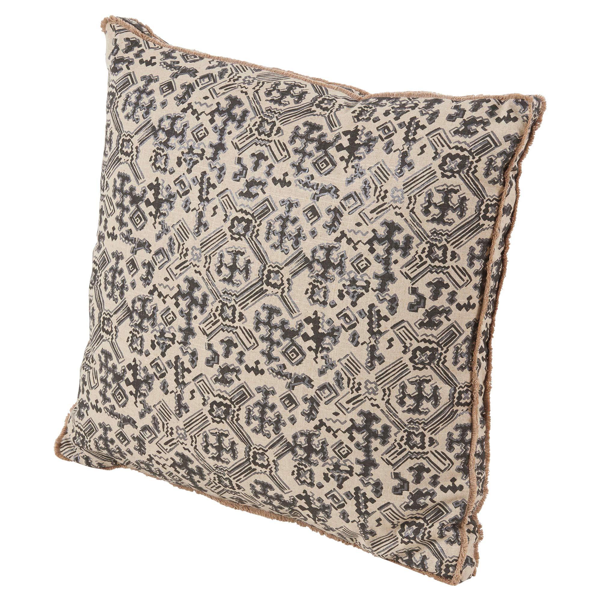 Noma Bazaar Grey Granite Tribal Print Eyelash Pillow - 22x22