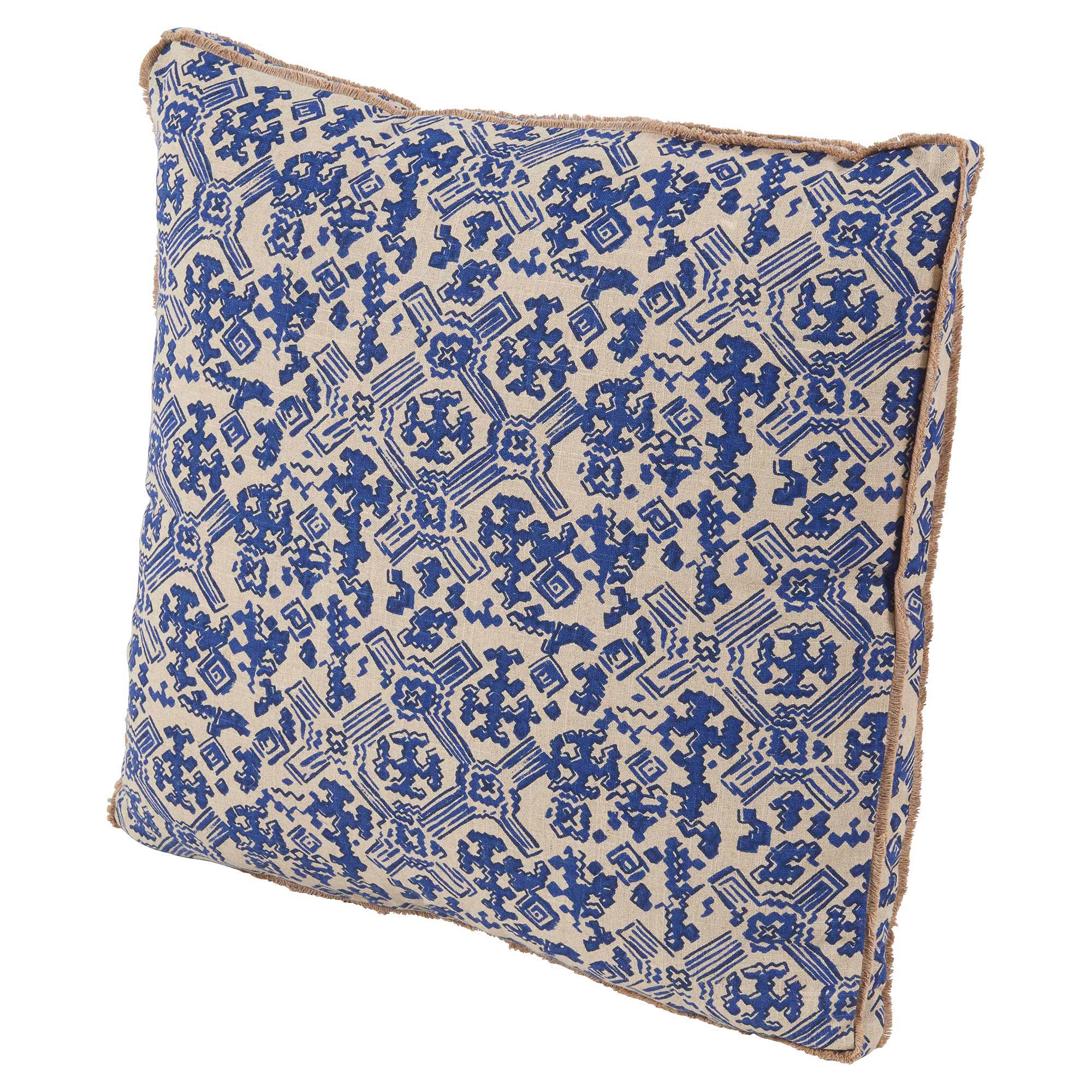 Noma Bazaar Blue Beige Tribal Print Eyelash Pillow - 22x22