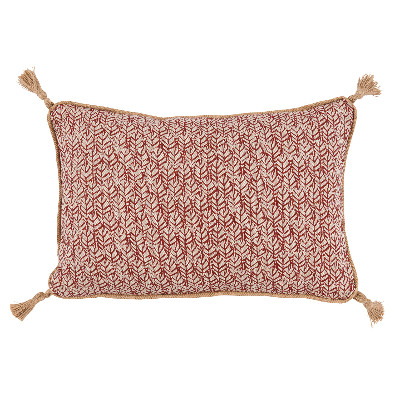 Jala Bazaar Rust Red Graphic Jute Tassel Pillow - 13x19