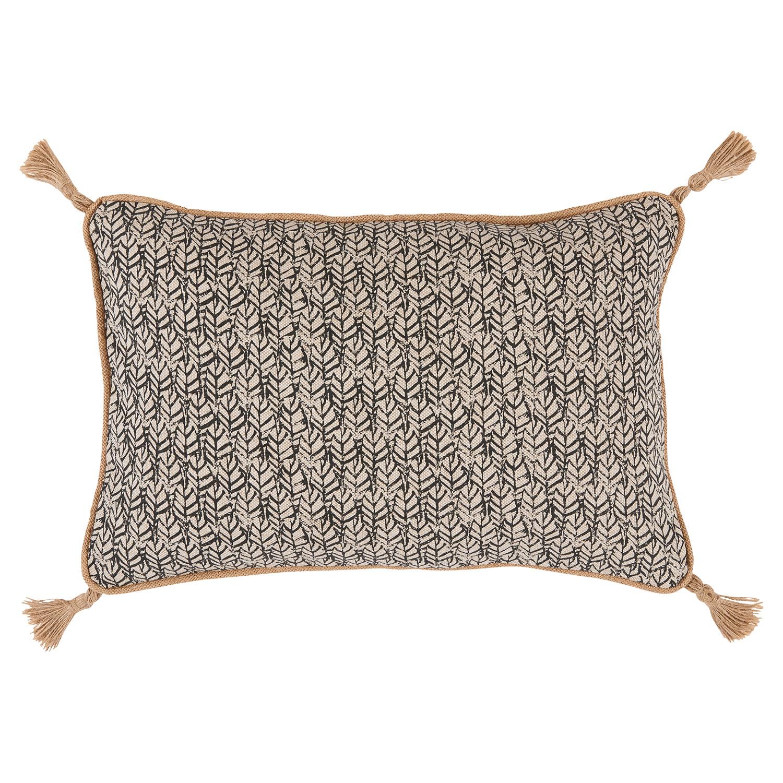 Jala Bazaar Grey Granite Graphic Jute Tassel Pillow - 13x19