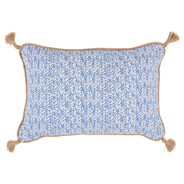 Jala Bazaar Ocean Blue Graphic Jute Tassel Pillow - 13x19