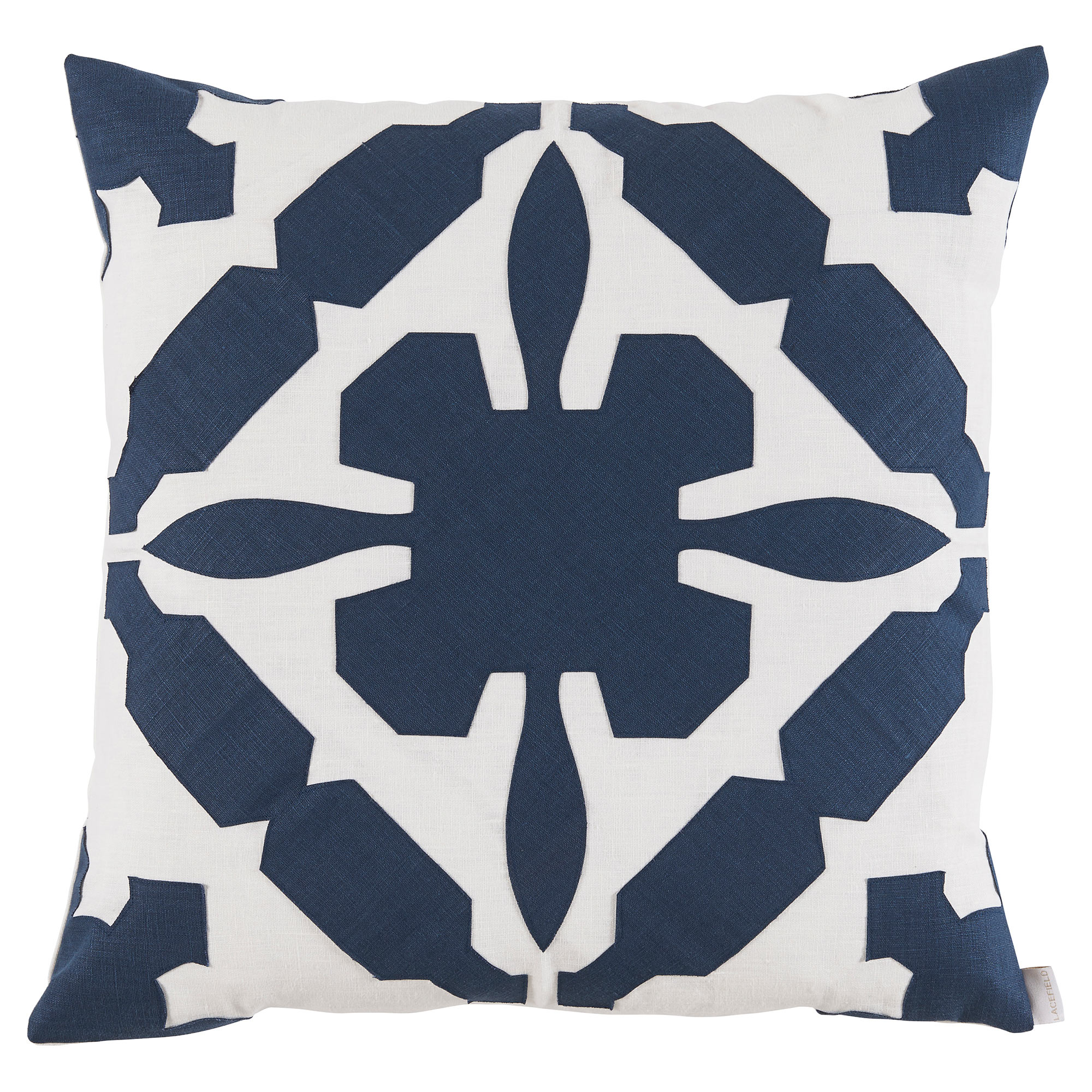 Pasha Modern Applique White Linen Navy Pillow - 22x22
