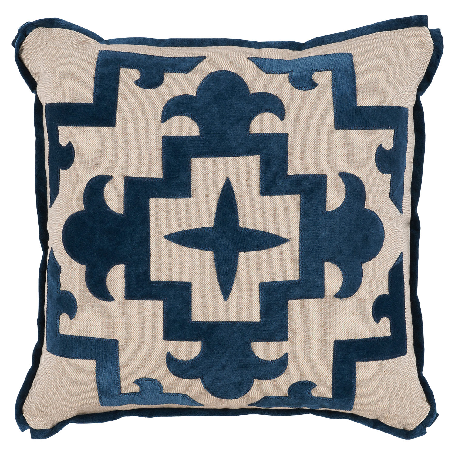 Libby Blue Velvet Finial Beige Pillow - 22x22