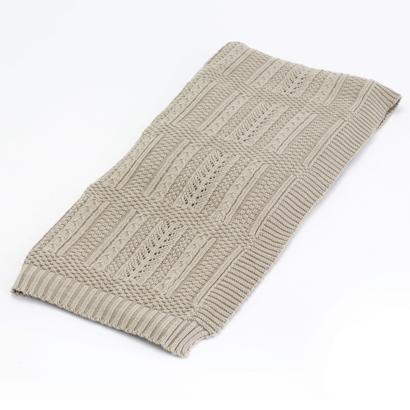 Chalet Rustic Lodge Beige Cotton Loomed Throw Blanket