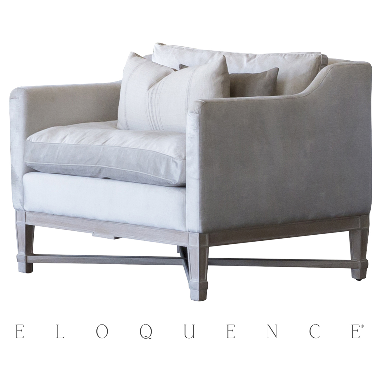 Eloquence® Scandinavian Worn Oak Dove Grey Velvet Bergere Armchair