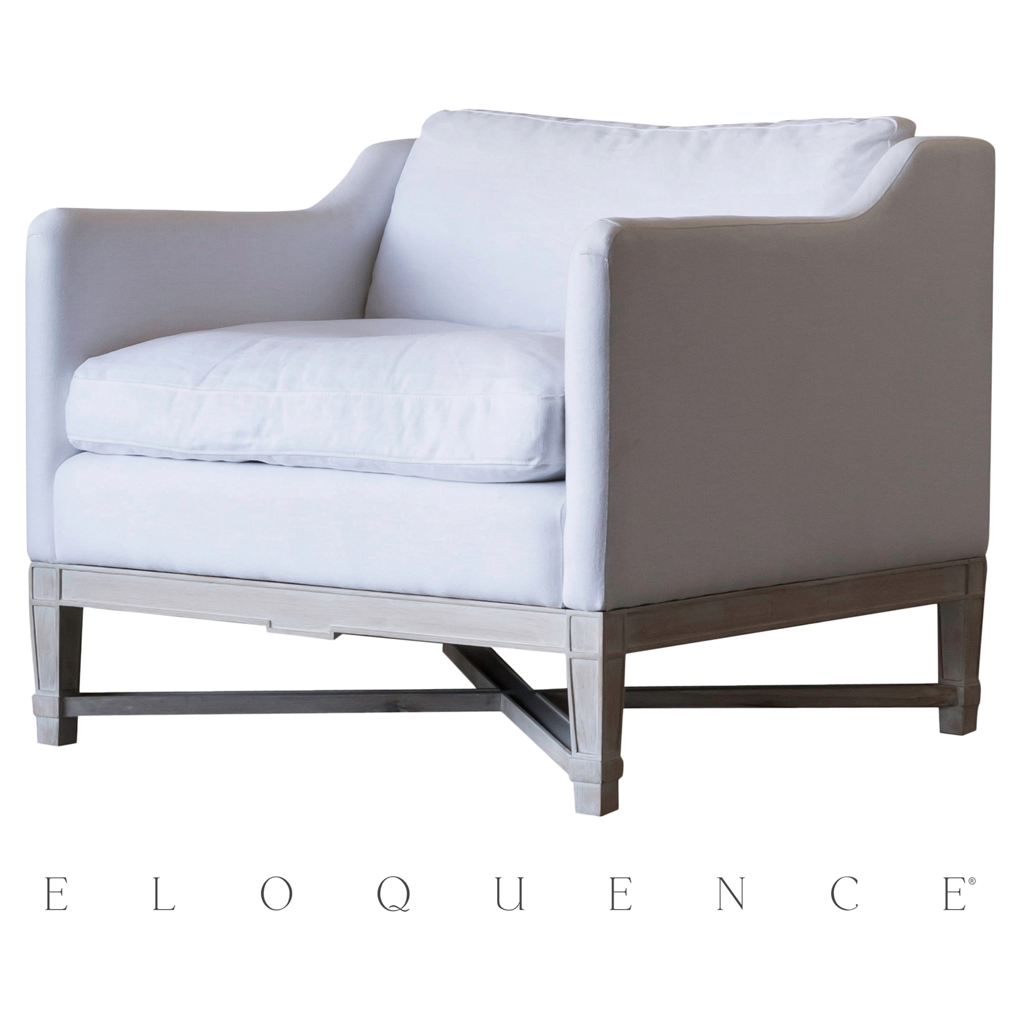 Eloquence® Scandinavian Worn Oak White Linen Bergere Armchair