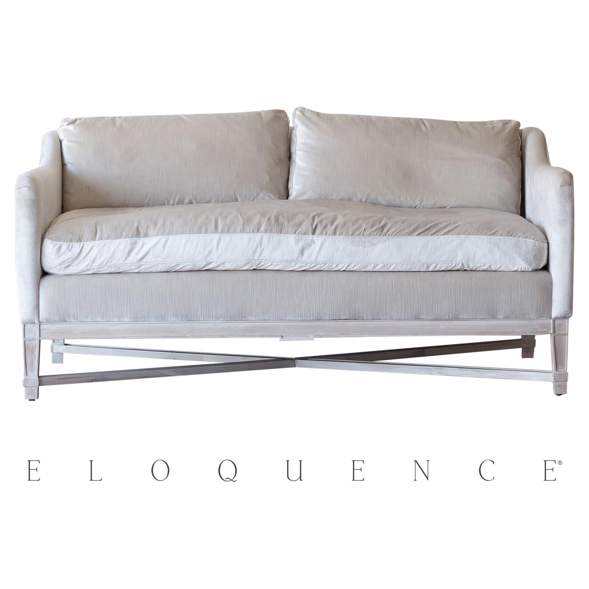 Eloquence® Scandinavian Worn Oak Dove Velvet Loveseat