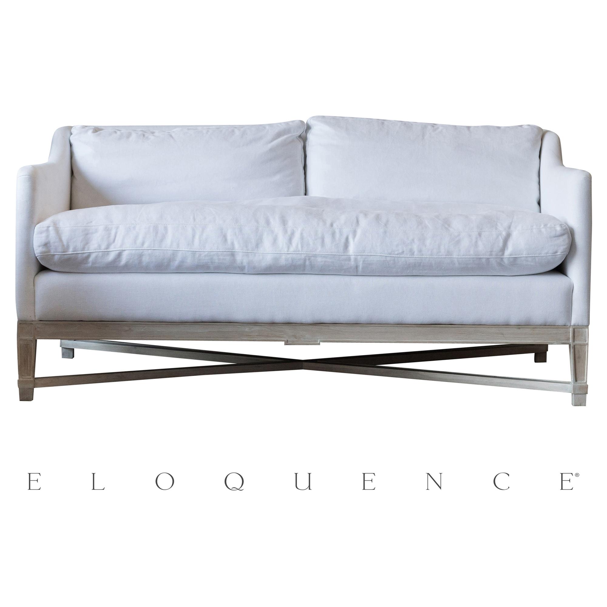 Eloquence® Scandinavian White Linen Worn Oak Loveseat